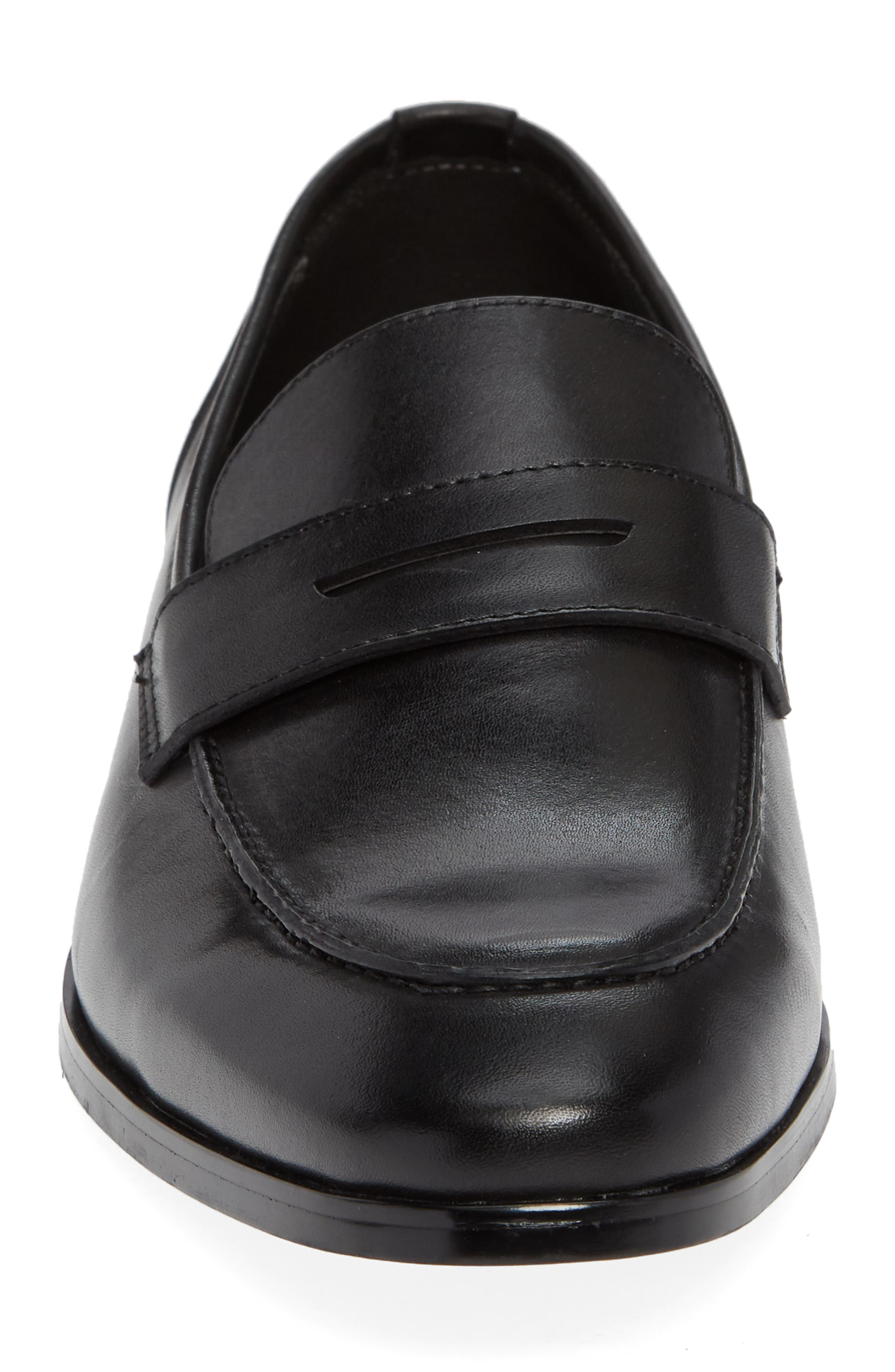 Denio Apron Toe Penny Loafer,                             Alternate thumbnail 4, color,                             BLACK LEATHER