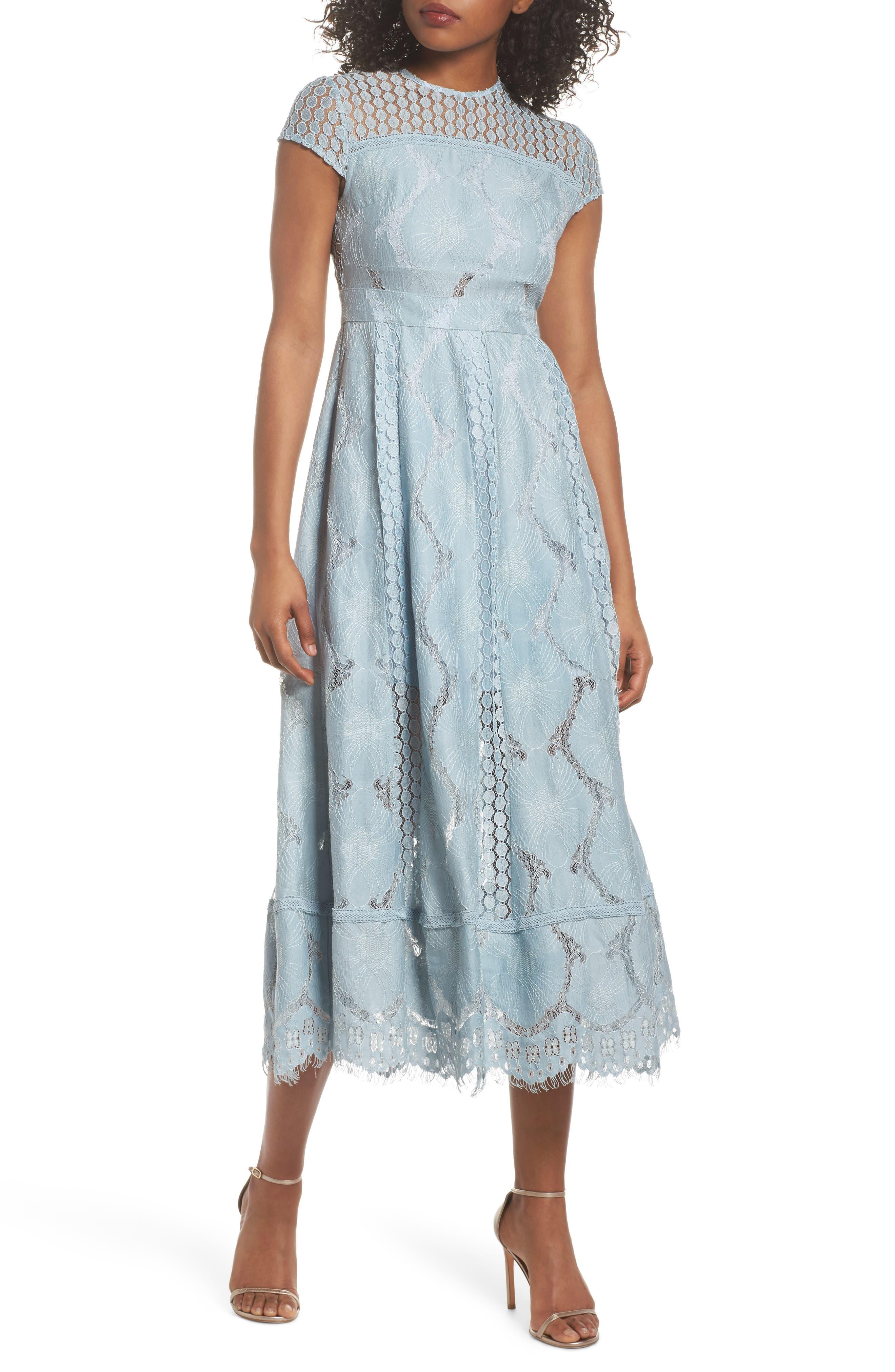 Theodora Lace Midi Dress,                         Main,                         color, BLUEBELL