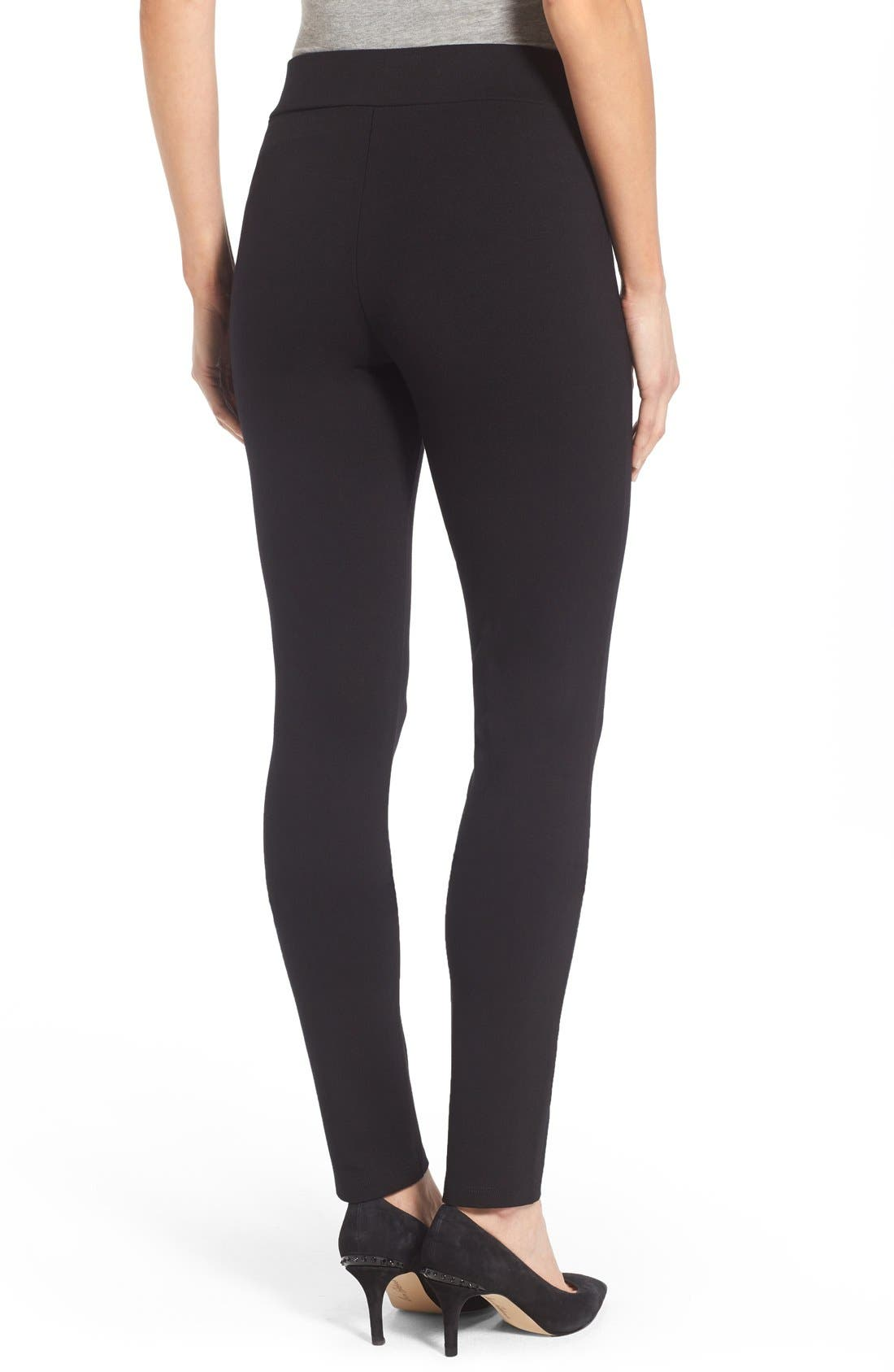 Stretch 'Jodie' Ponte Leggings,                             Alternate thumbnail 4, color,                             001