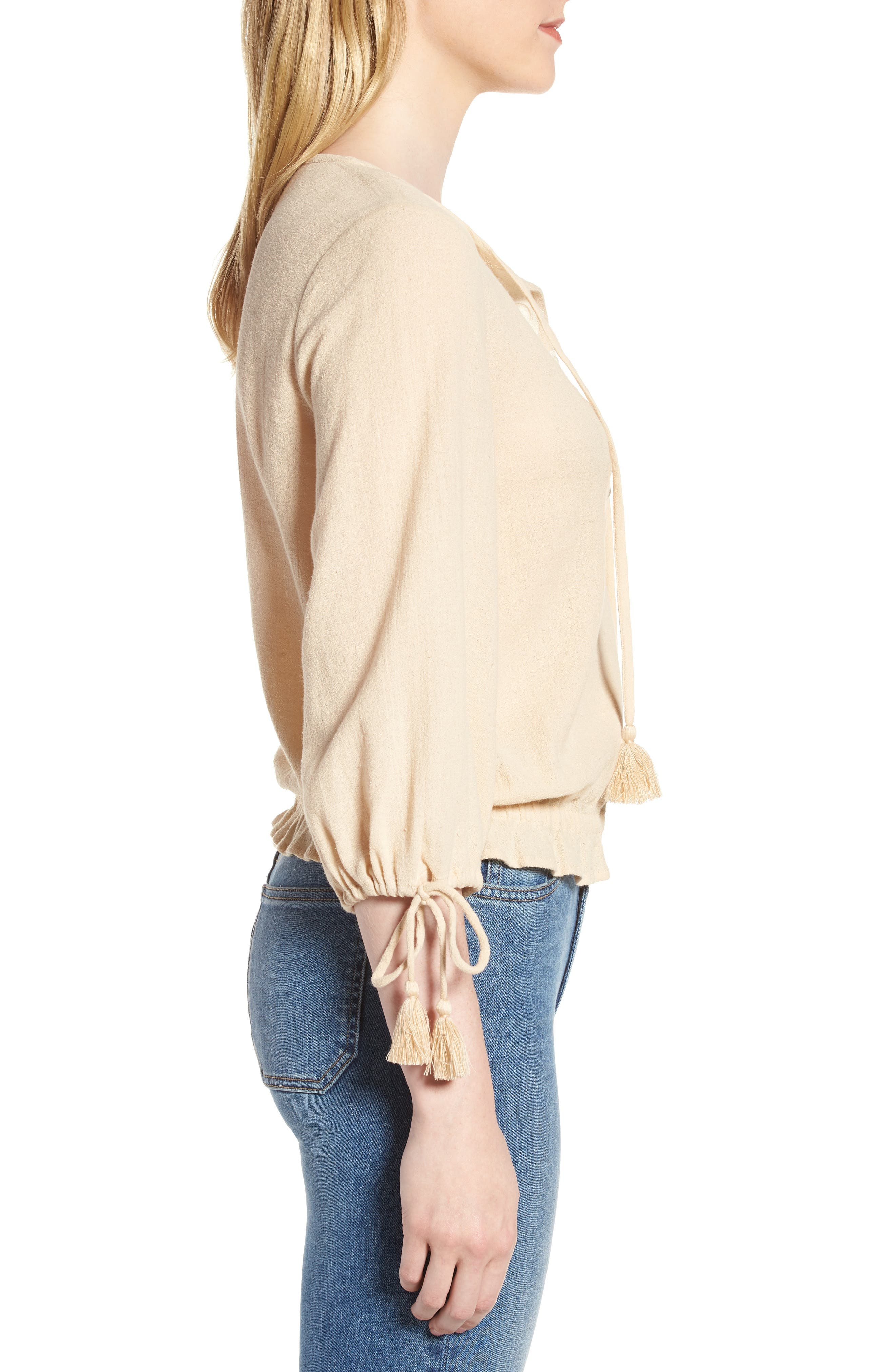 Embroidered Cotton Tassel Top,                             Alternate thumbnail 6, color,