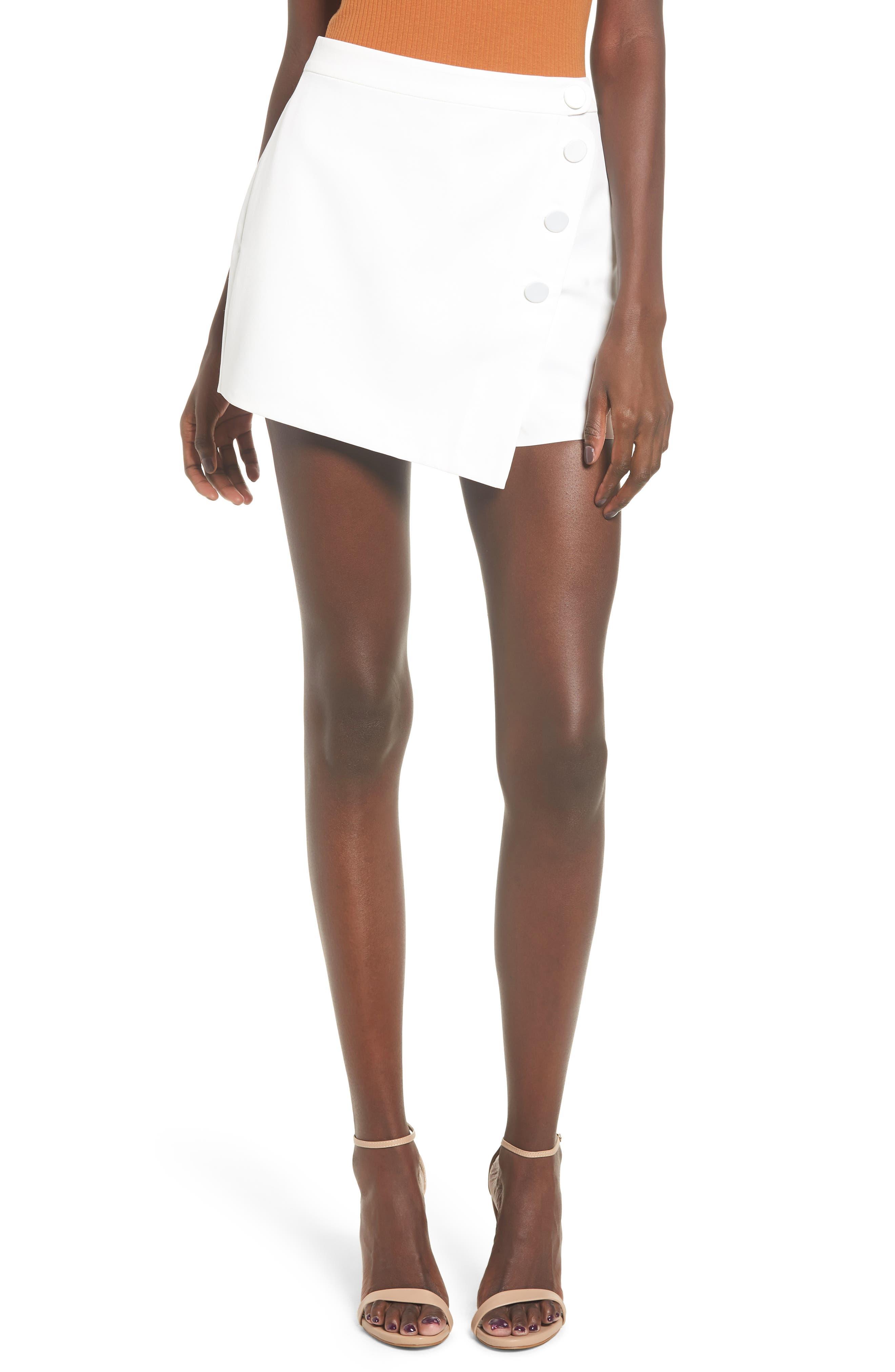 Satin Wrap Style Skort,                         Main,                         color, WHITE