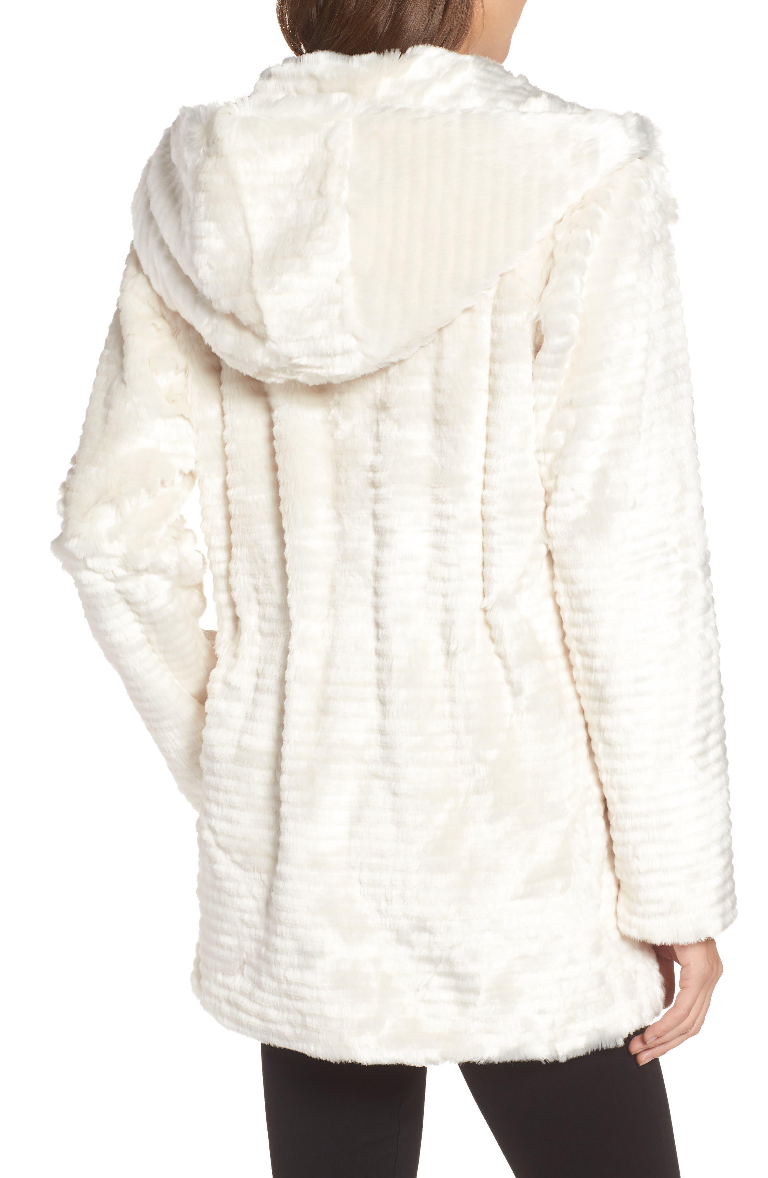 VINCE CAMUTO,                             Hooded Faux Fur Coat,                             Alternate thumbnail 2, color,                             100