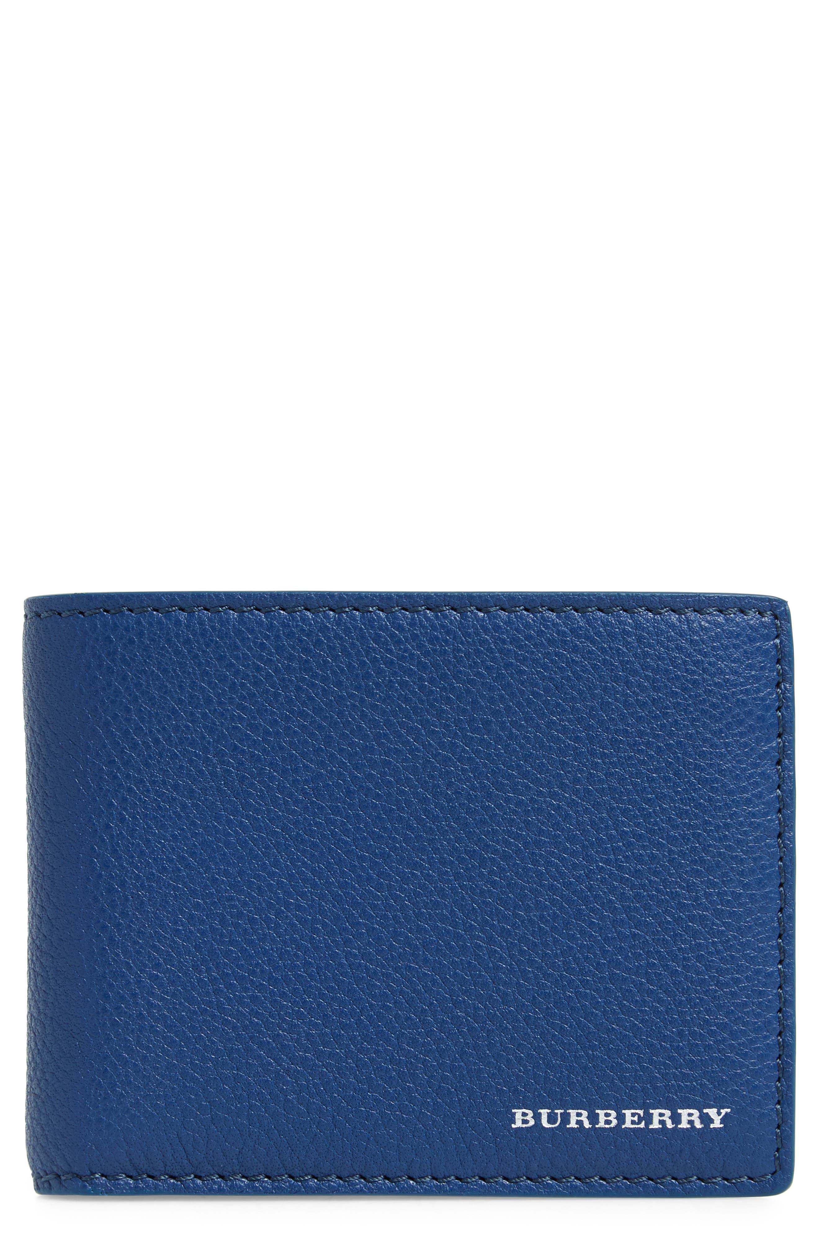 Bifold Leather Wallet,                             Main thumbnail 1, color,                             BRIGHT ULTRAMARINE