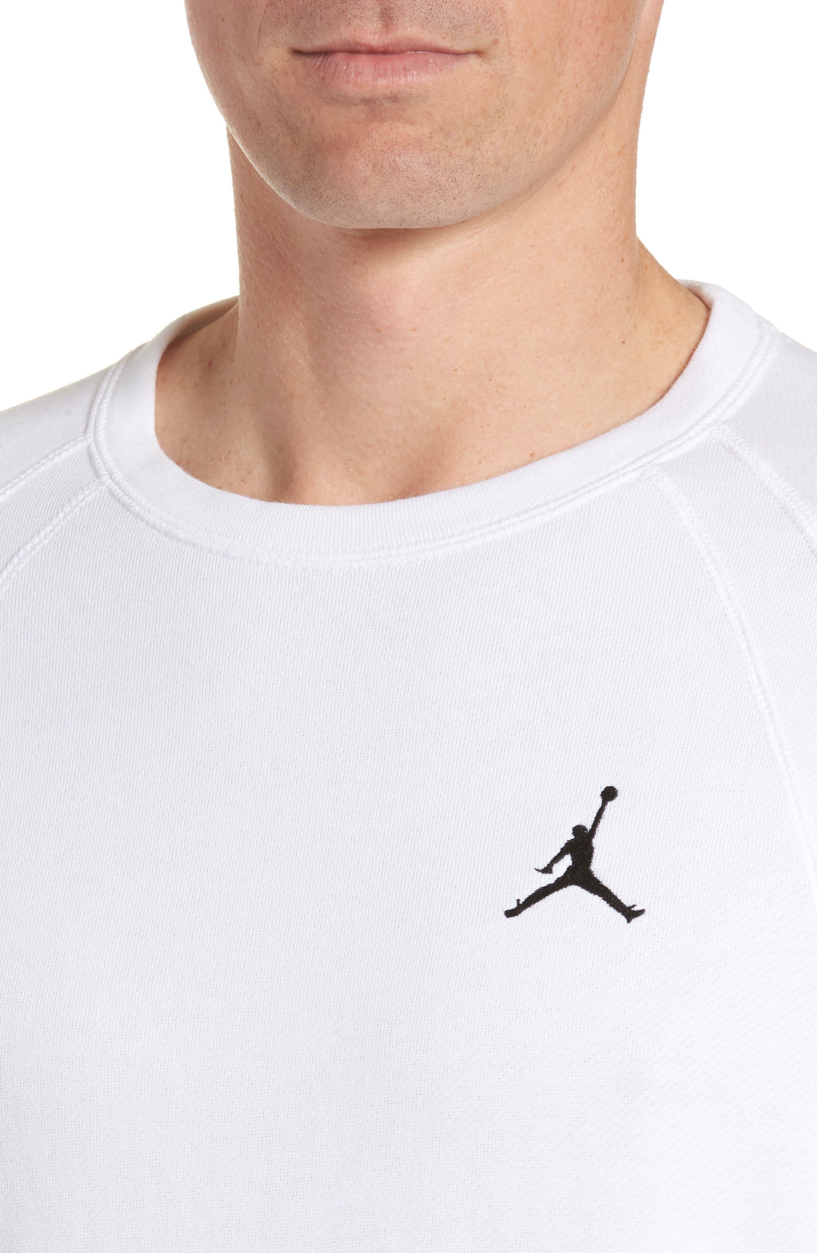 JORDAN,                             Wings Light Short Sleeve Sweatshirt,                             Alternate thumbnail 4, color,                             WHITE/ BLACK