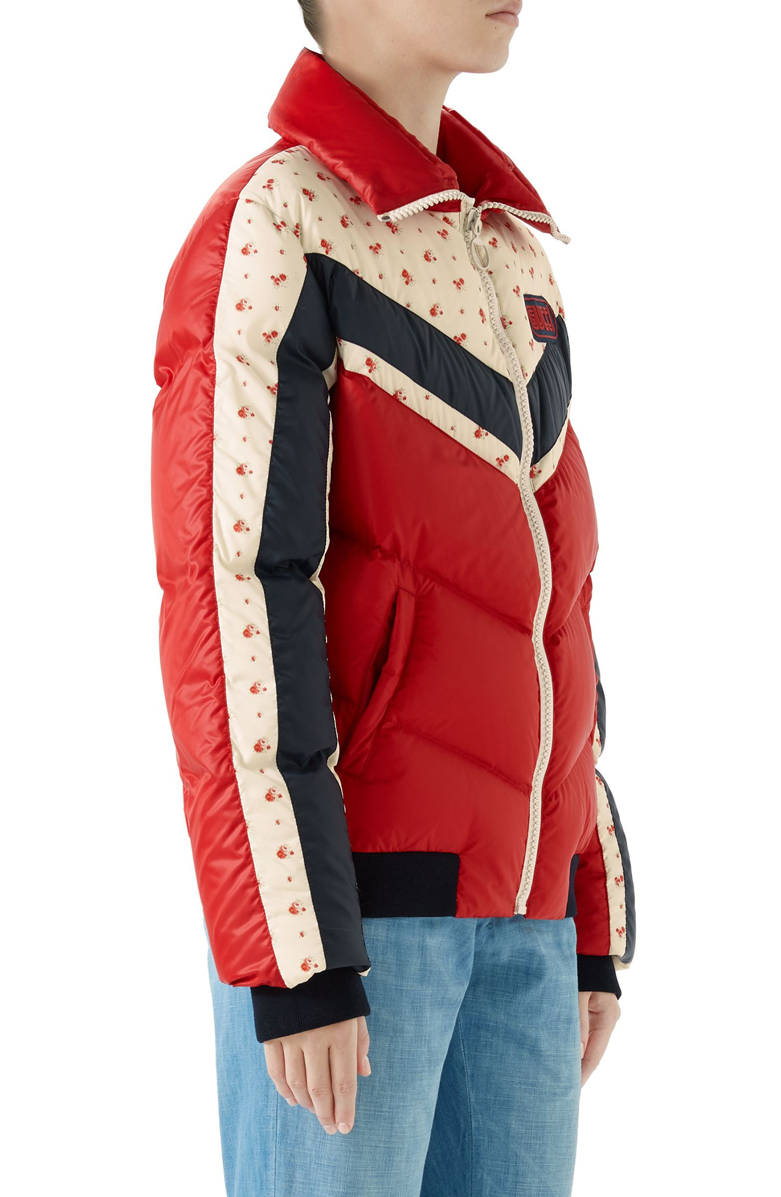 Floral & Stripe Puffer Jacket,                             Alternate thumbnail 3, color,                             MULTI