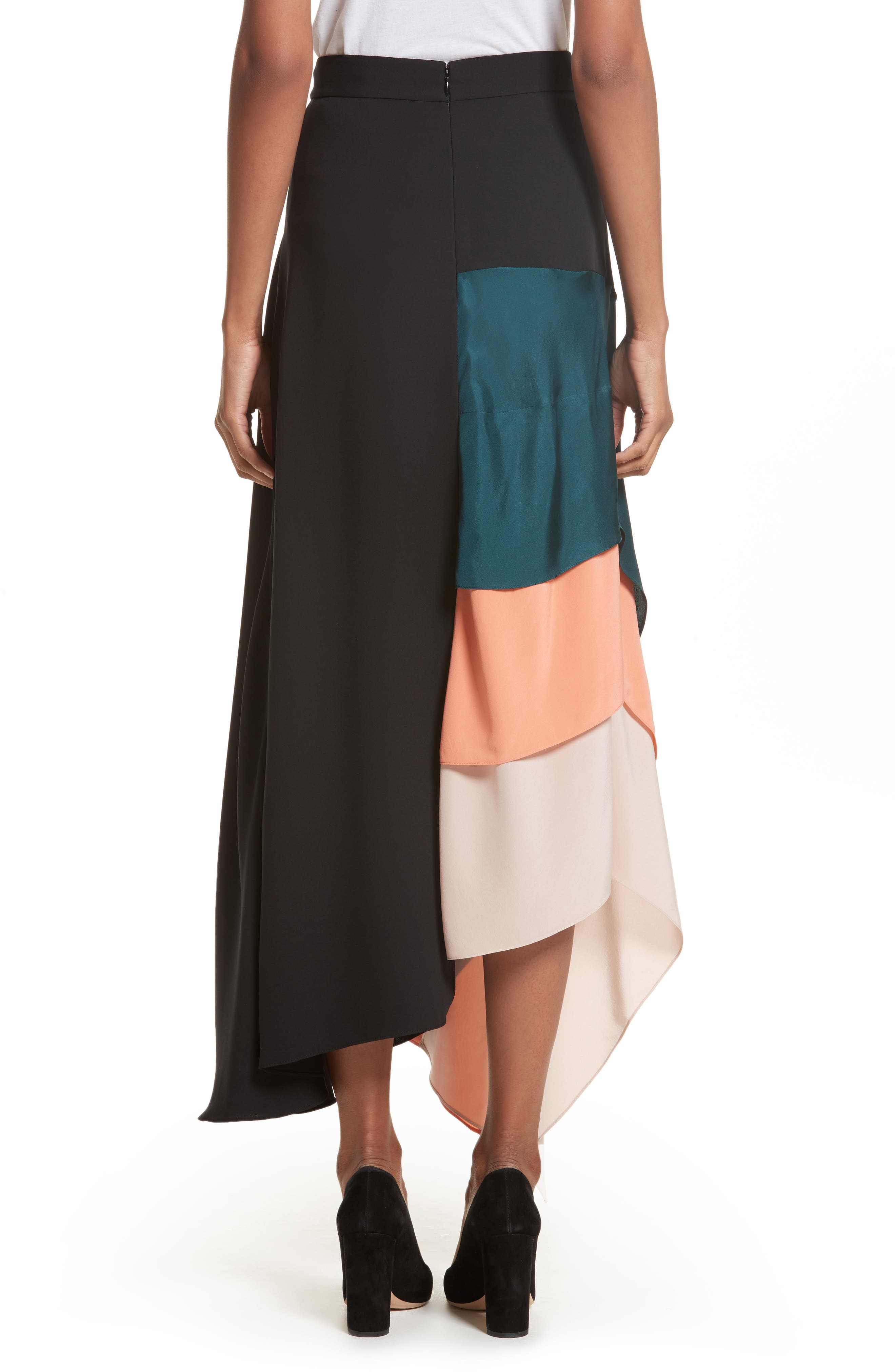 Delma Asymmetric Silk Skirt,                             Alternate thumbnail 2, color,
