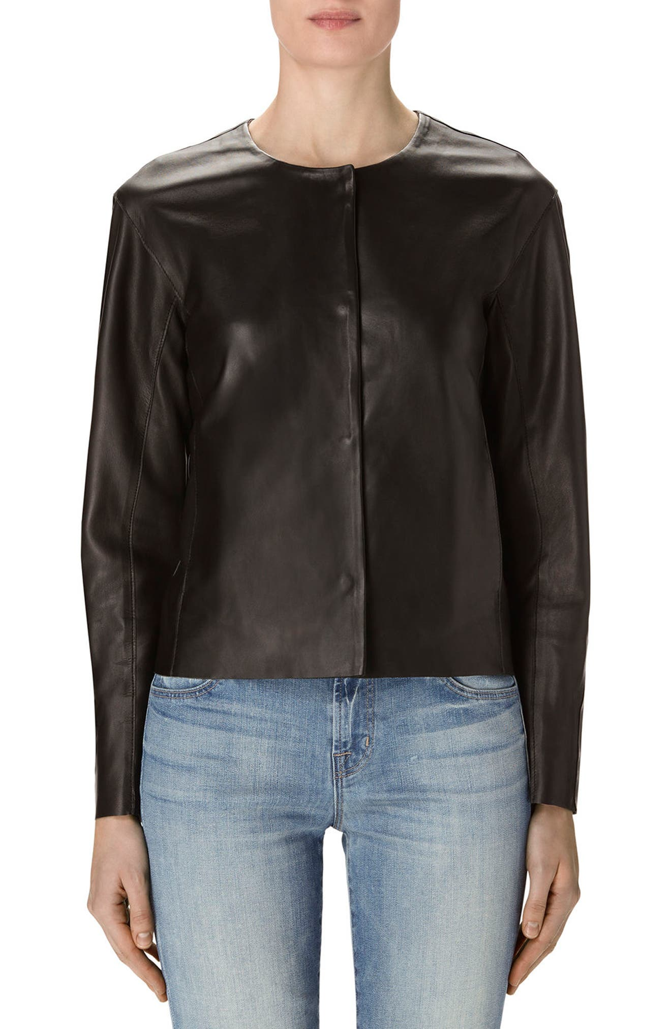 Cecelia Collarless Leather Jacket,                             Main thumbnail 1, color,                             001