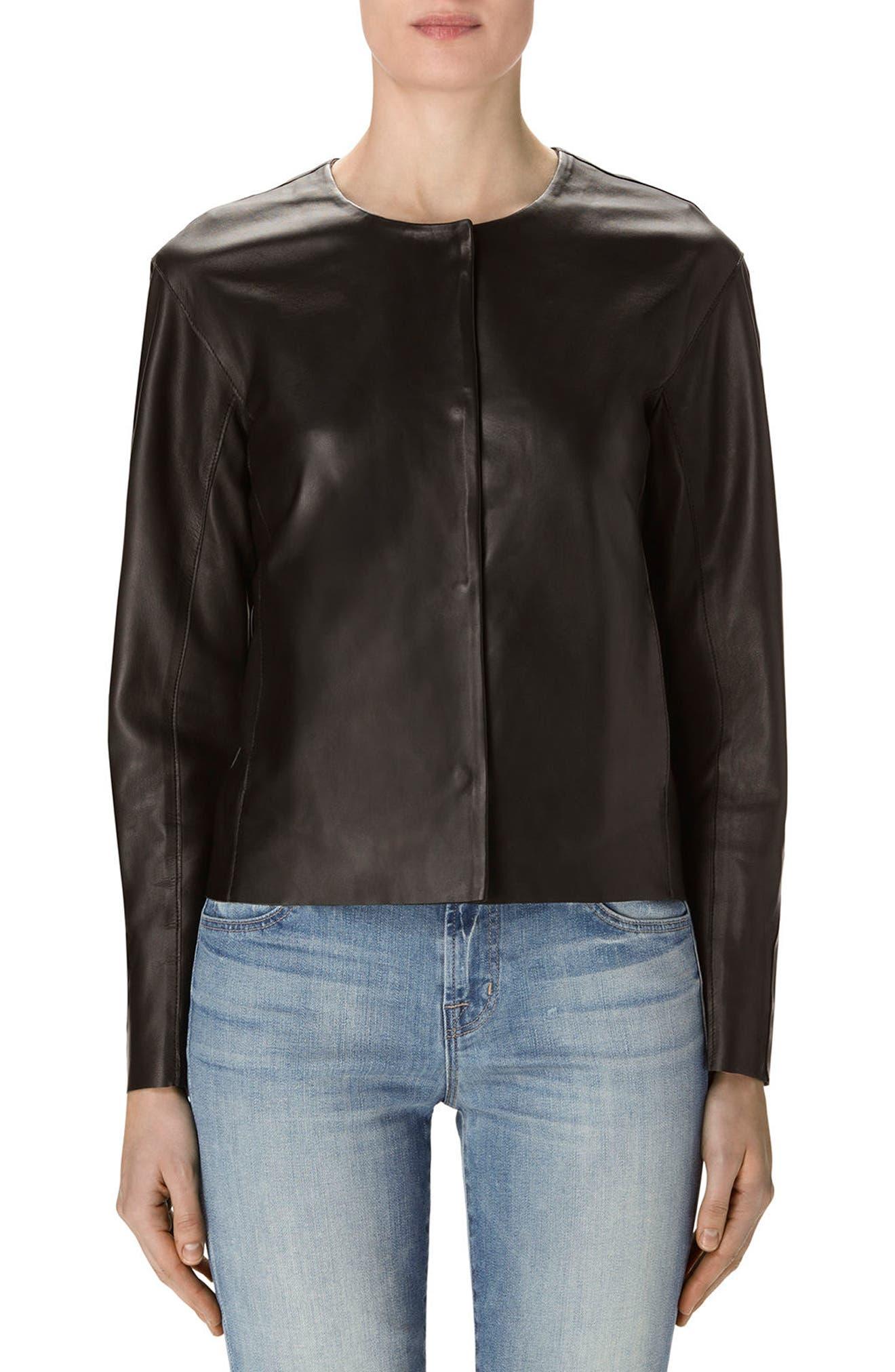 Cecelia Collarless Leather Jacket,                         Main,                         color, 001
