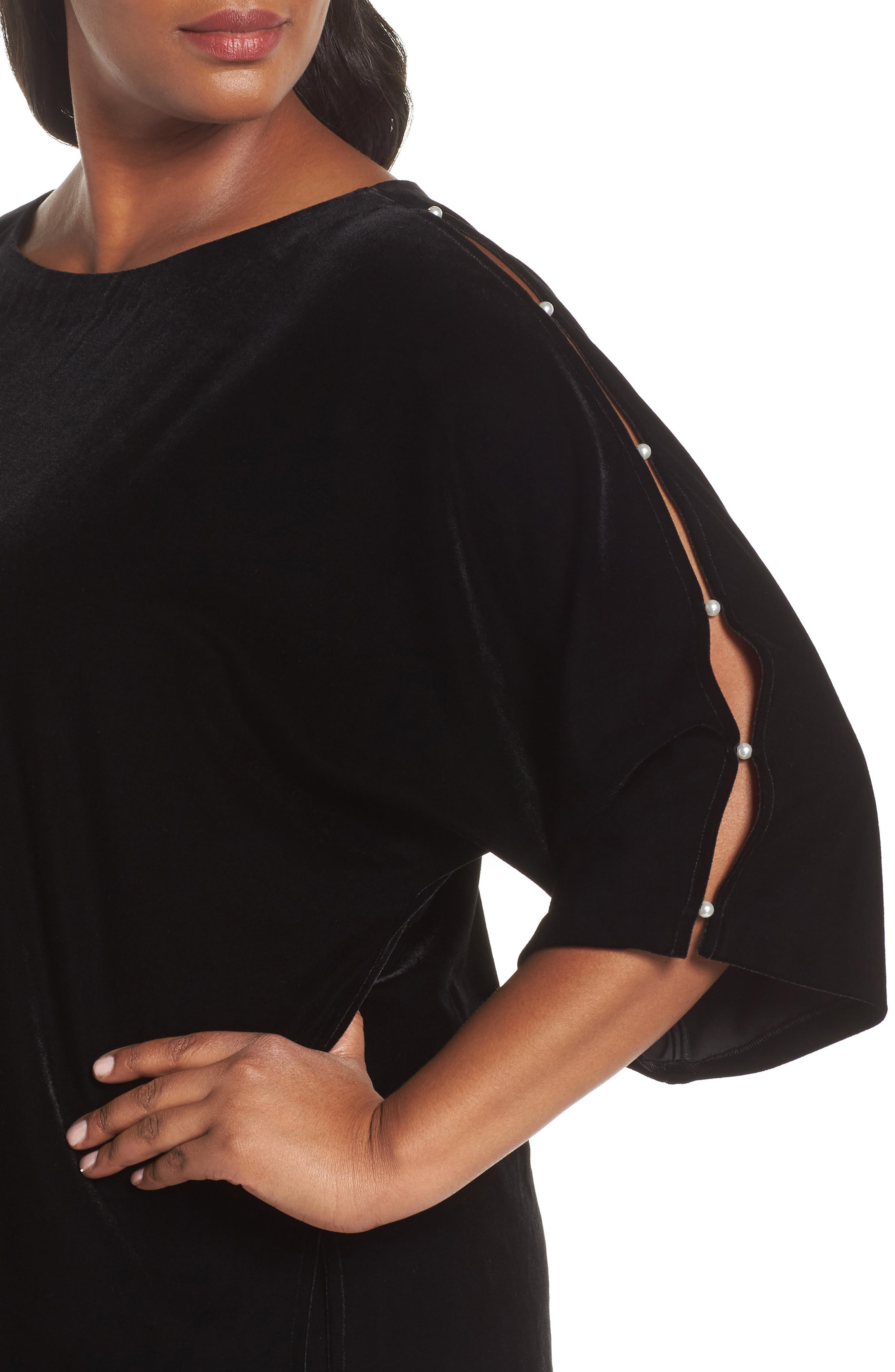 Embellished Split Sleeve Velvet Tunic,                             Alternate thumbnail 4, color,                             001