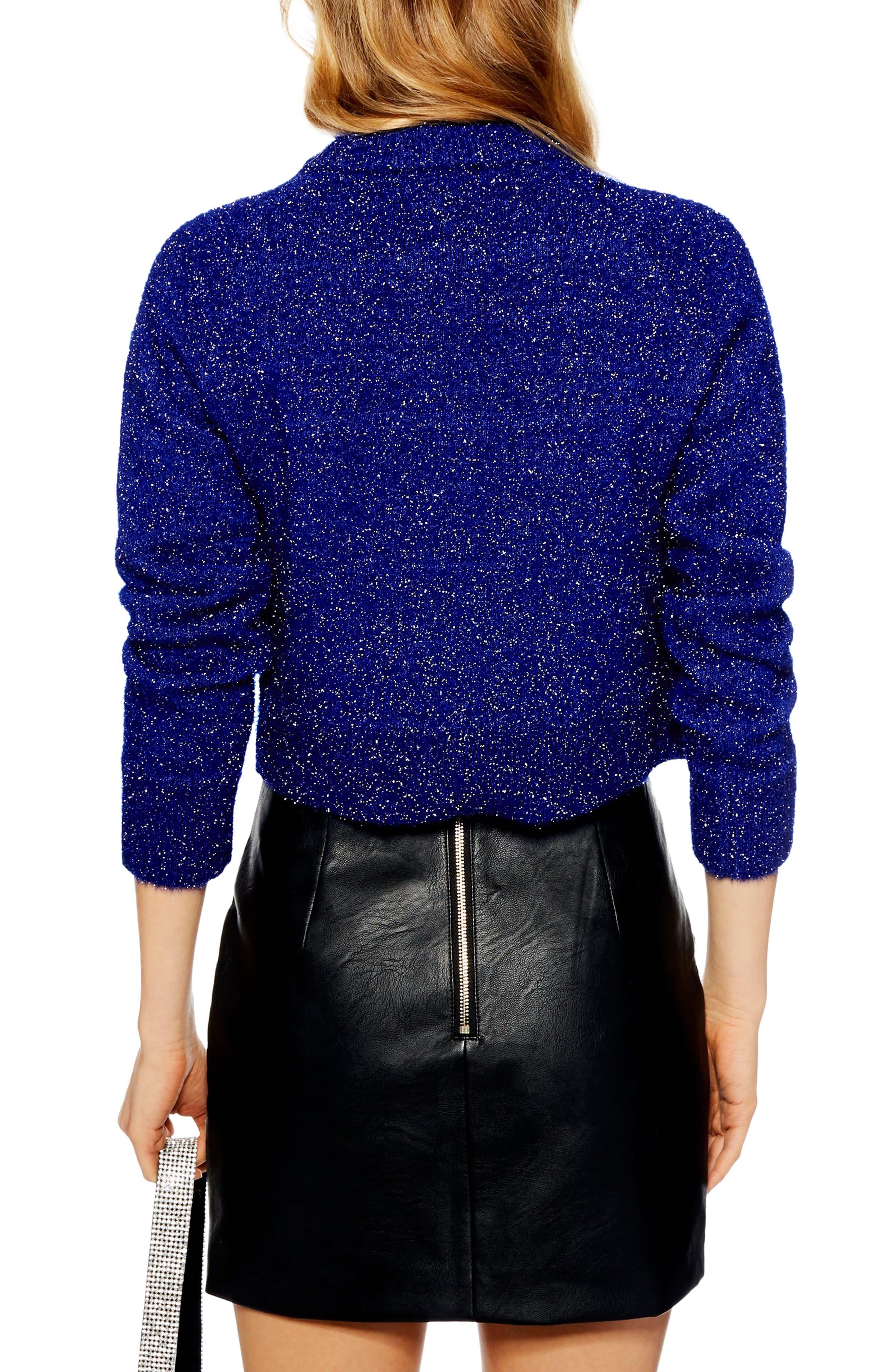Metallic Crop Sweater,                             Alternate thumbnail 2, color,                             BLUE