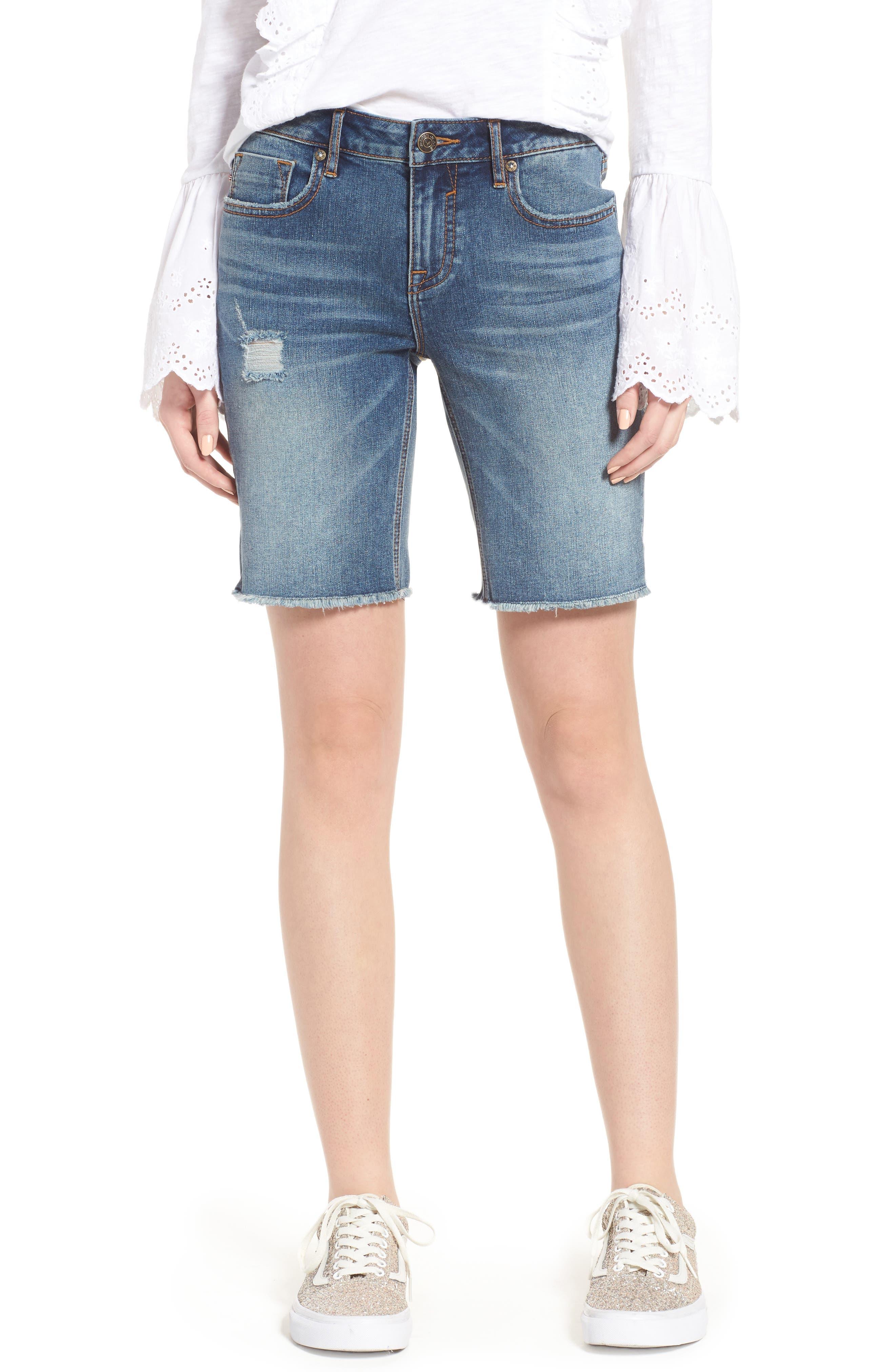 Distressed Denim Bermuda Shorts,                         Main,                         color,