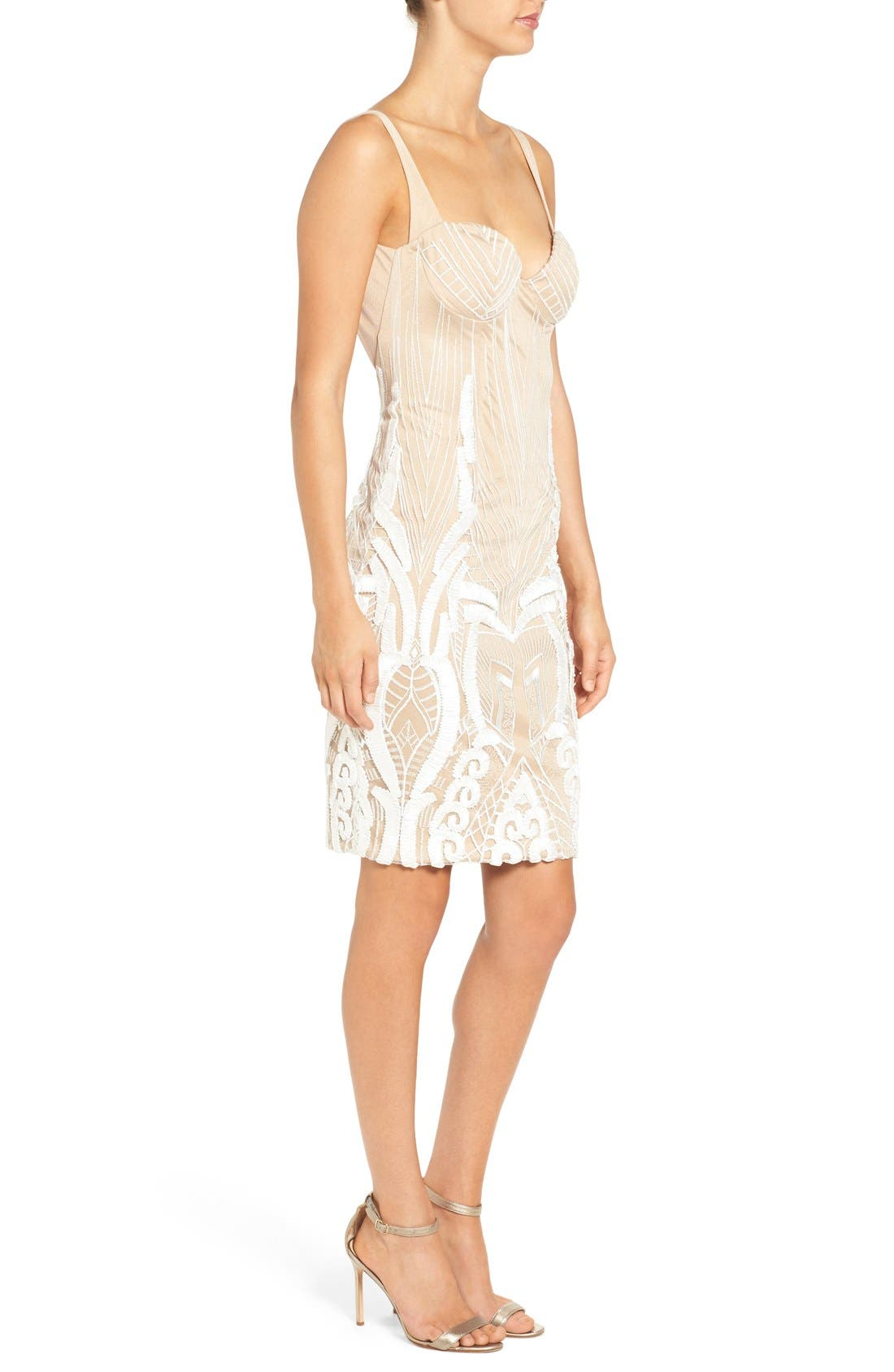 'Cara' Backless Ribbon Lace Embroidered Tulle Sheath Dress,                             Alternate thumbnail 3, color,                             901