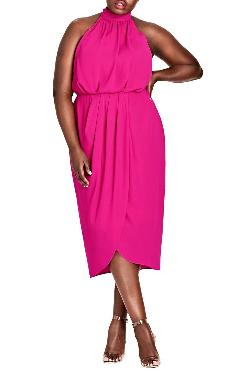 City Chic Romance Blouson Halter Dress (Plus Size) | Nordstrom