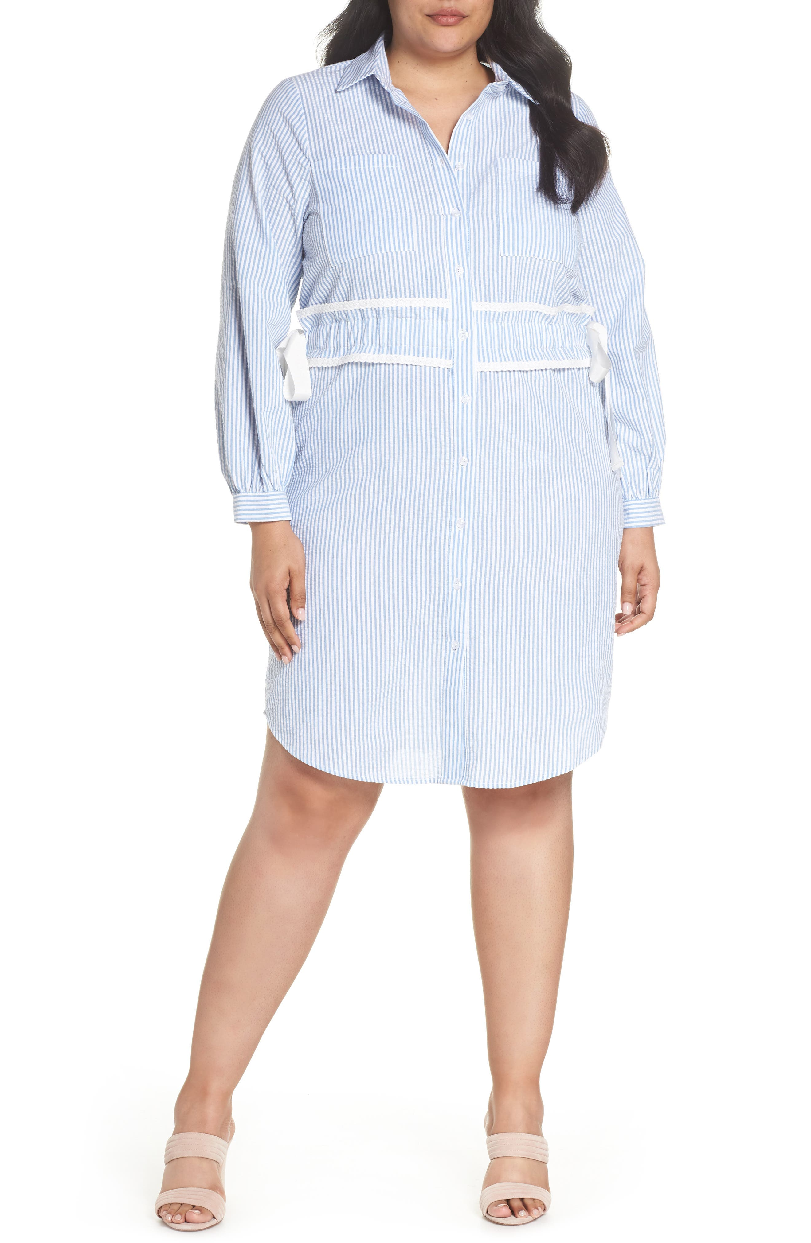 Side Tie Stripe Shirtdress,                             Main thumbnail 1, color,                             461