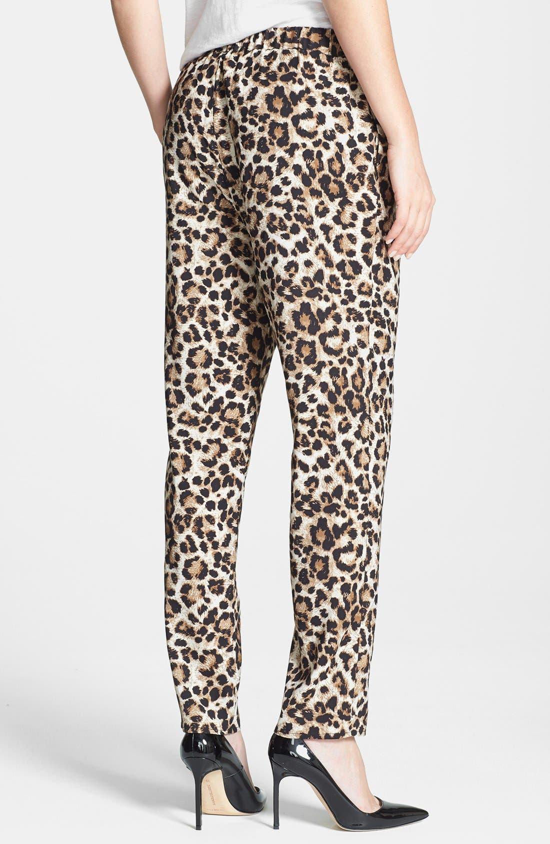 Leopard Print Drawstring Pants,                             Alternate thumbnail 2, color,                             001