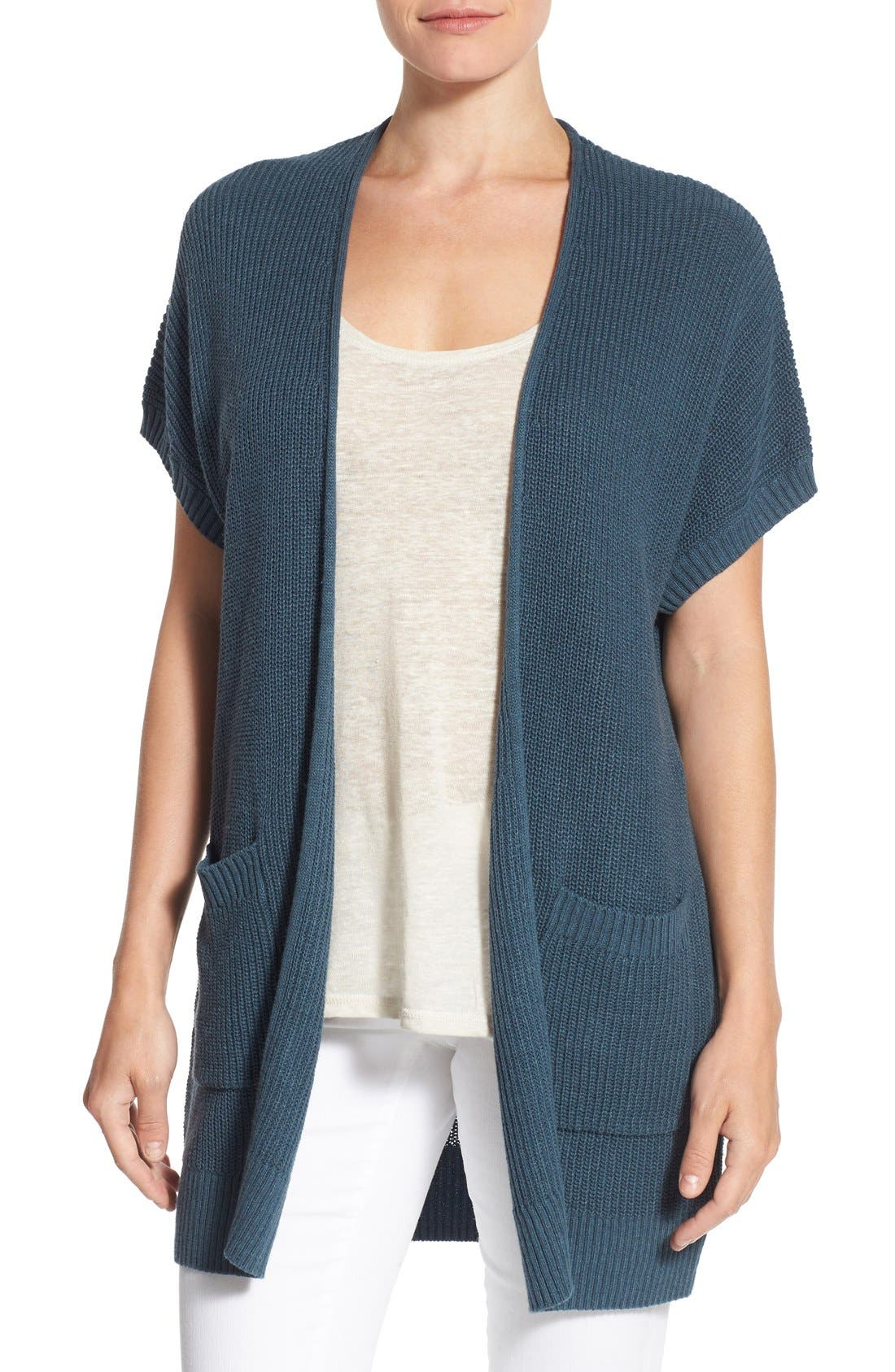 Shaker Stitch Open Front Cardigan,                             Main thumbnail 4, color,