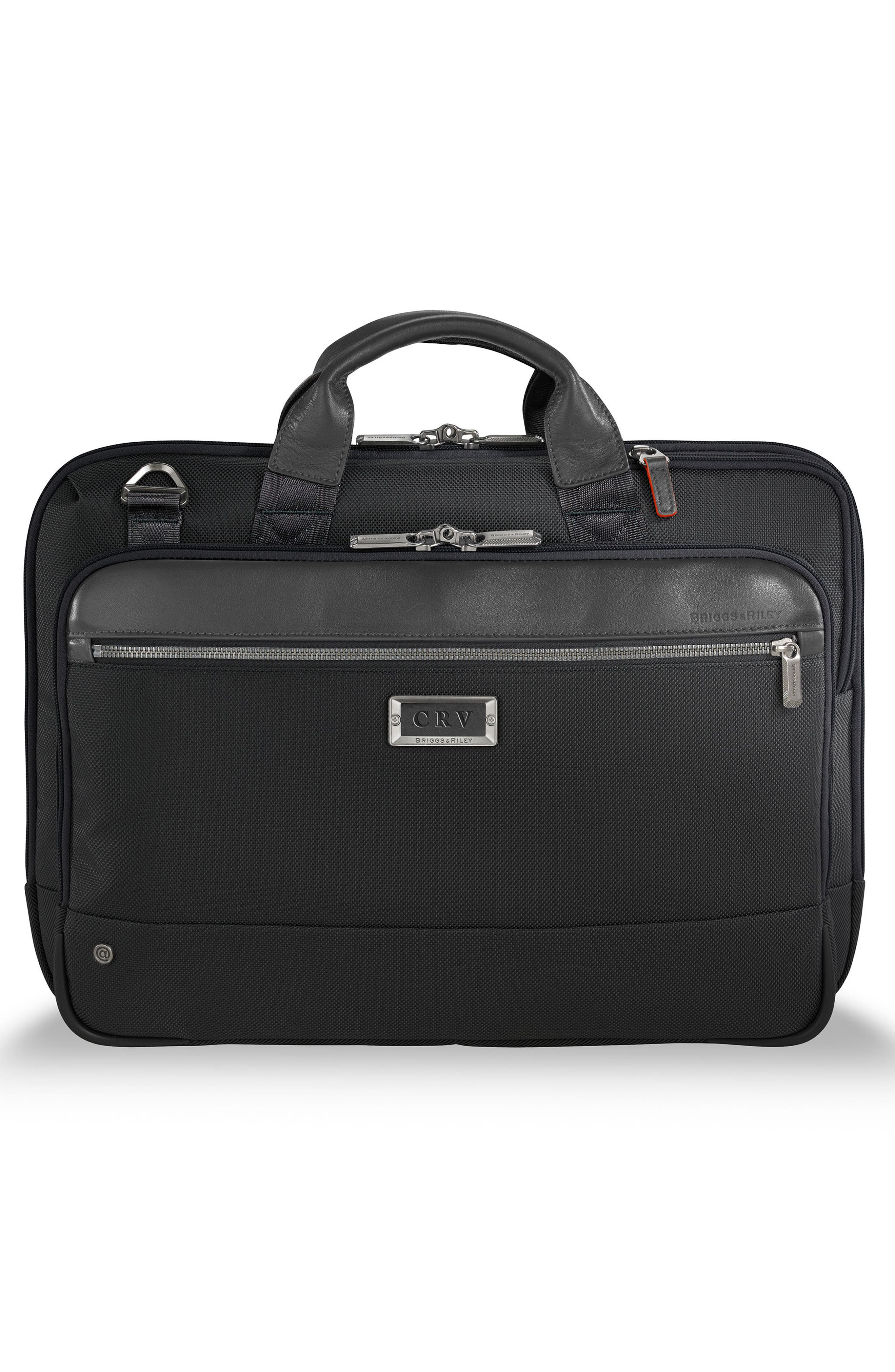 BRIGGS & RILEY,                             @work Slim Briefcase,                             Alternate thumbnail 4, color,                             BLACK