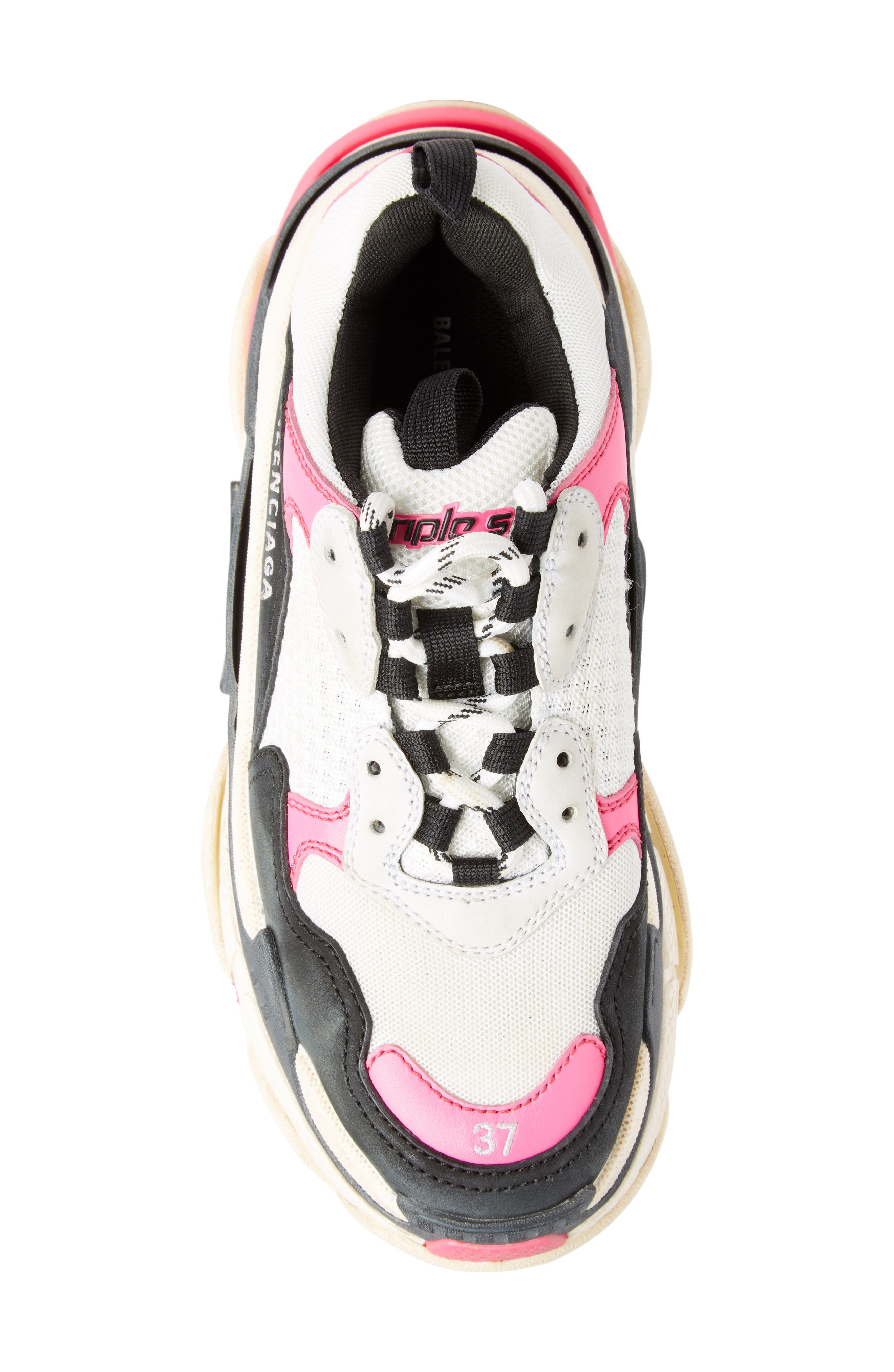Triple S Low Top Sneaker,                             Alternate thumbnail 4, color,                             ROSE FLUO/ BLACK/ WHITE