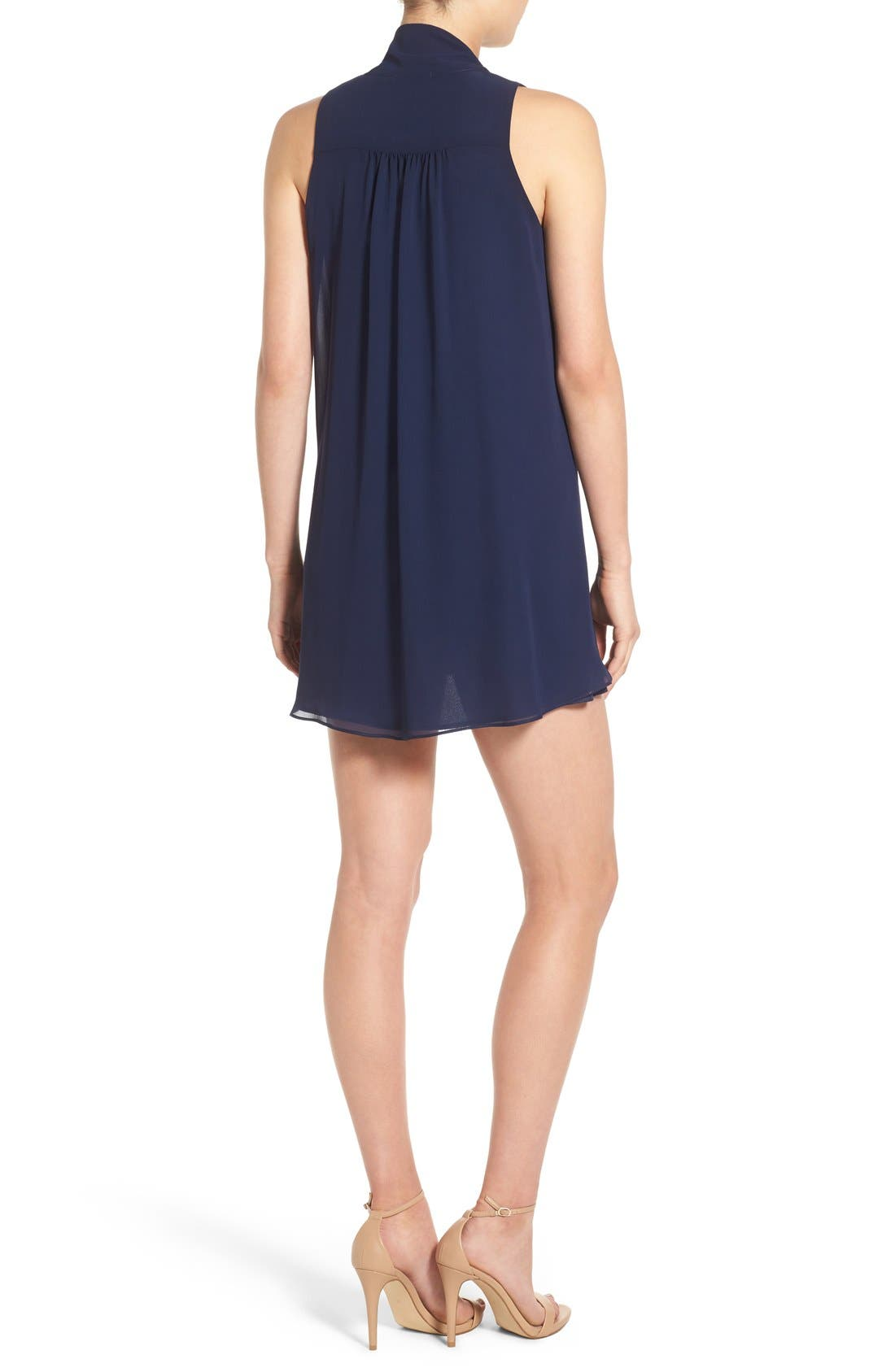 Tie Neck Shift Dress,                             Alternate thumbnail 5, color,                             410