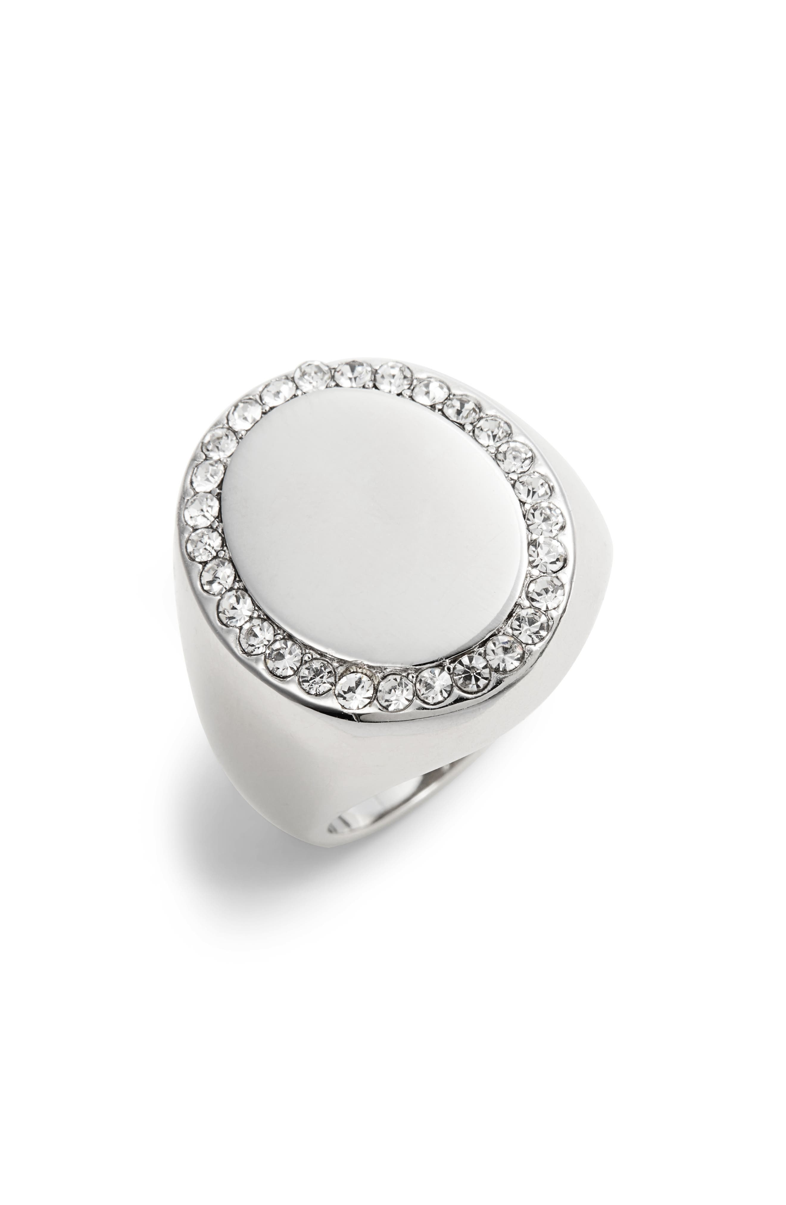 Pavé Oval Signet Ring,                         Main,                         color,