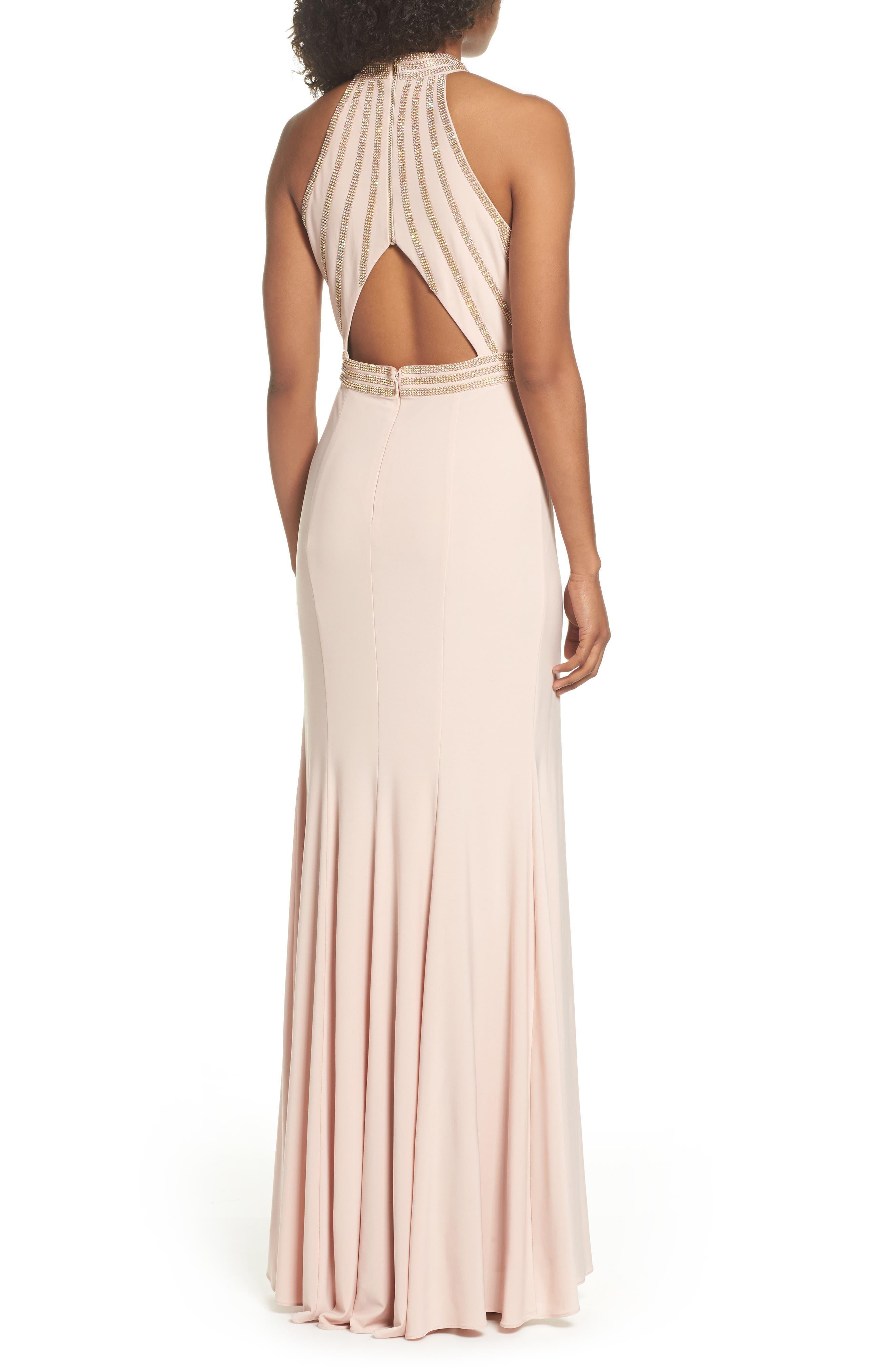 Embellished Halter Neck Gown,                             Alternate thumbnail 2, color,