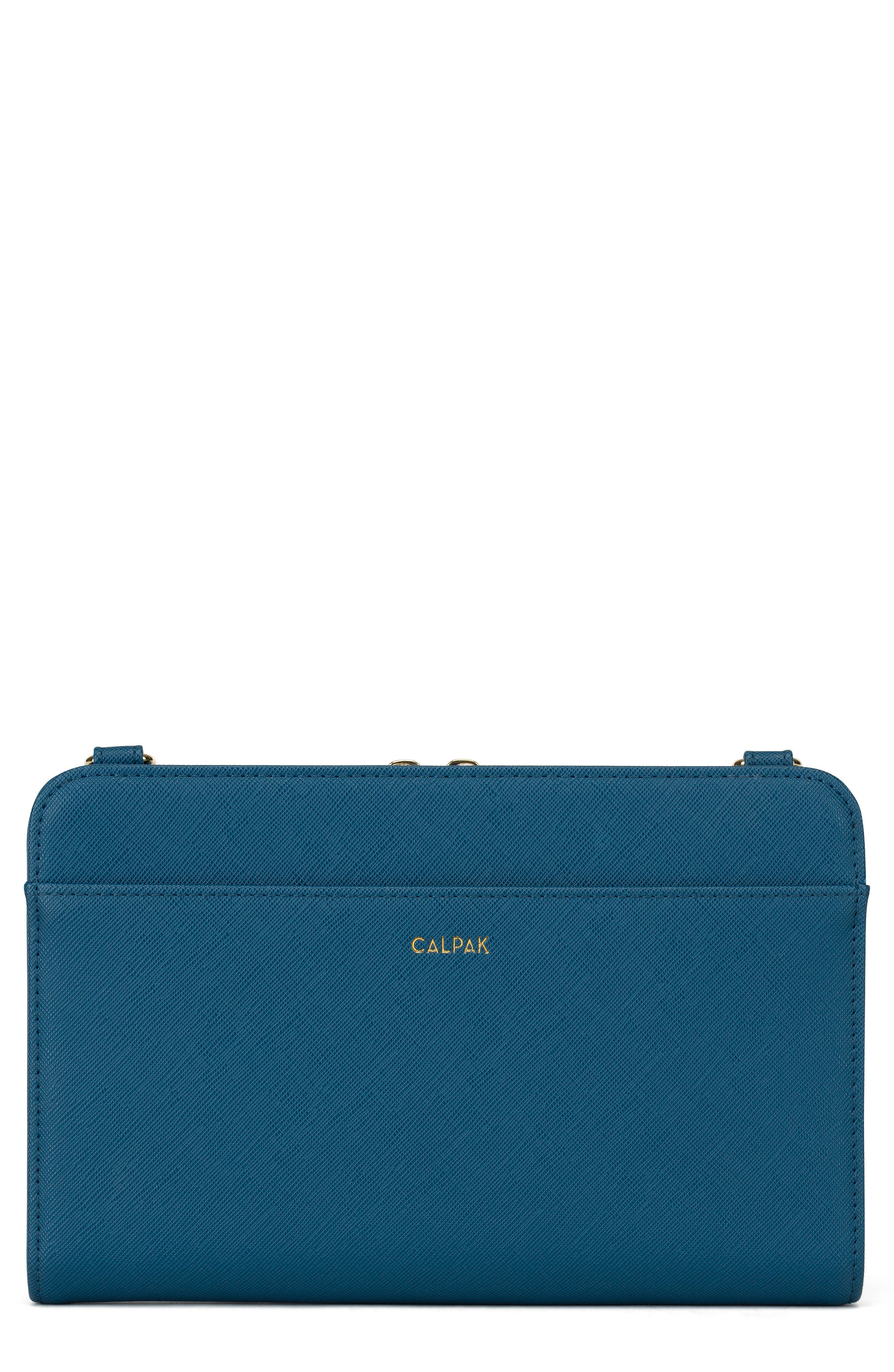 Faux Leather RFID Travel Wallet, Main, color, DEEP BLUE