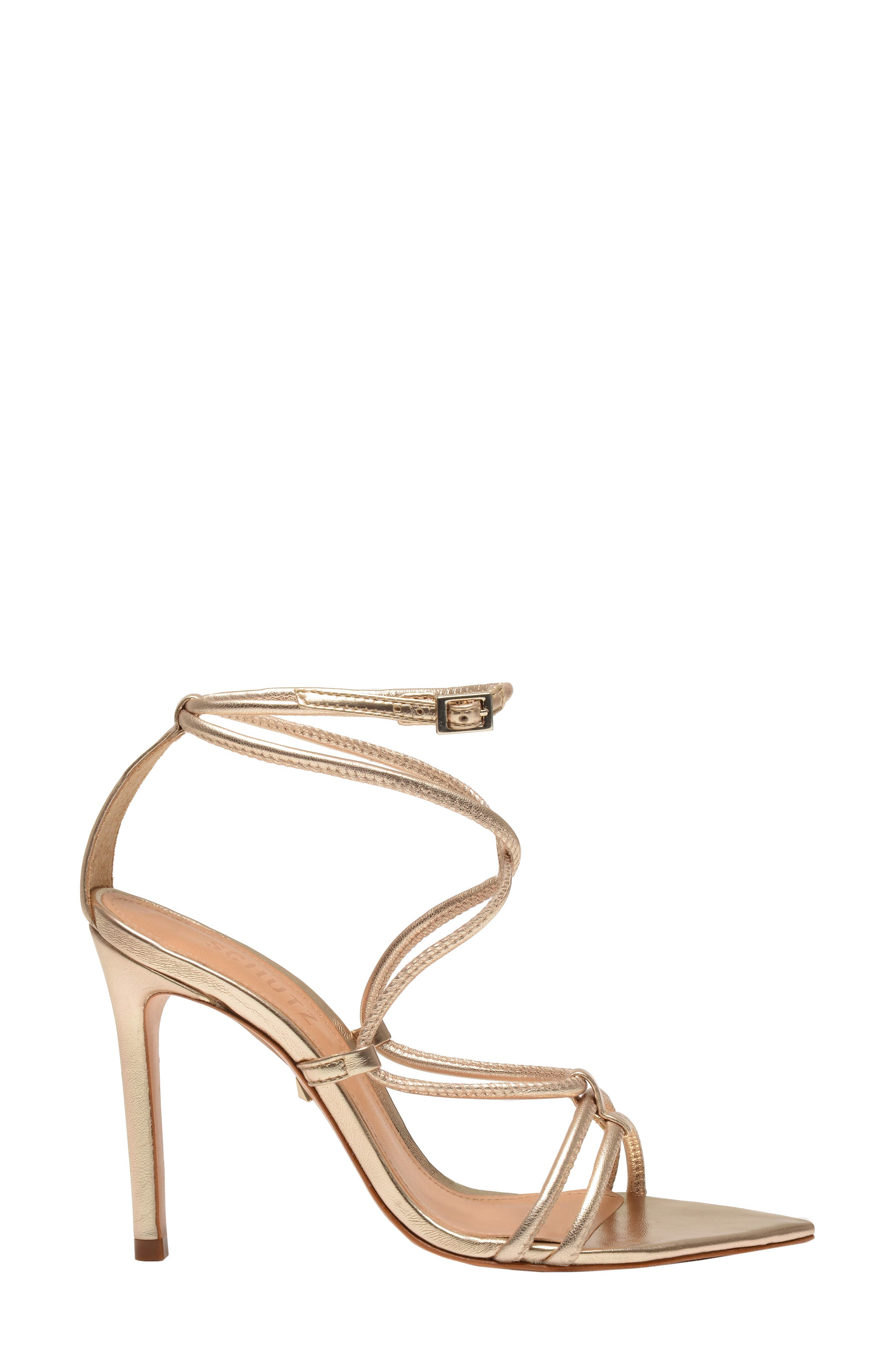 Evellyn Strappy Sandal,                             Alternate thumbnail 3, color,                             PLATINA
