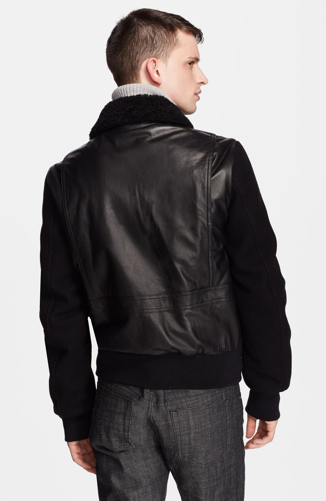 Genuine Shearling Collar Leather Jacket with Wool Sleeves,                             Alternate thumbnail 3, color,                             001