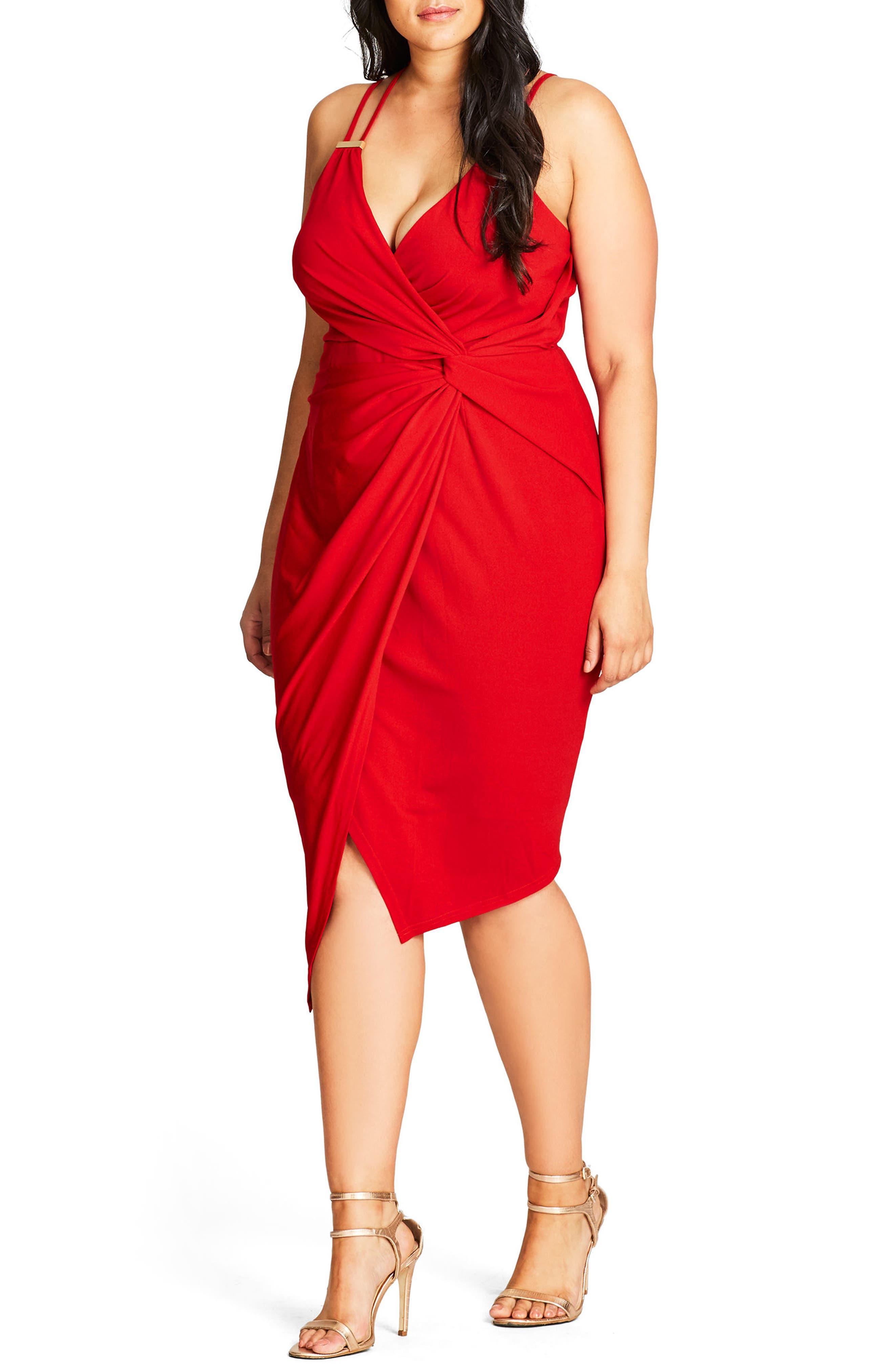 plus size women's city chic so seductive faux wrap dress, size small - red