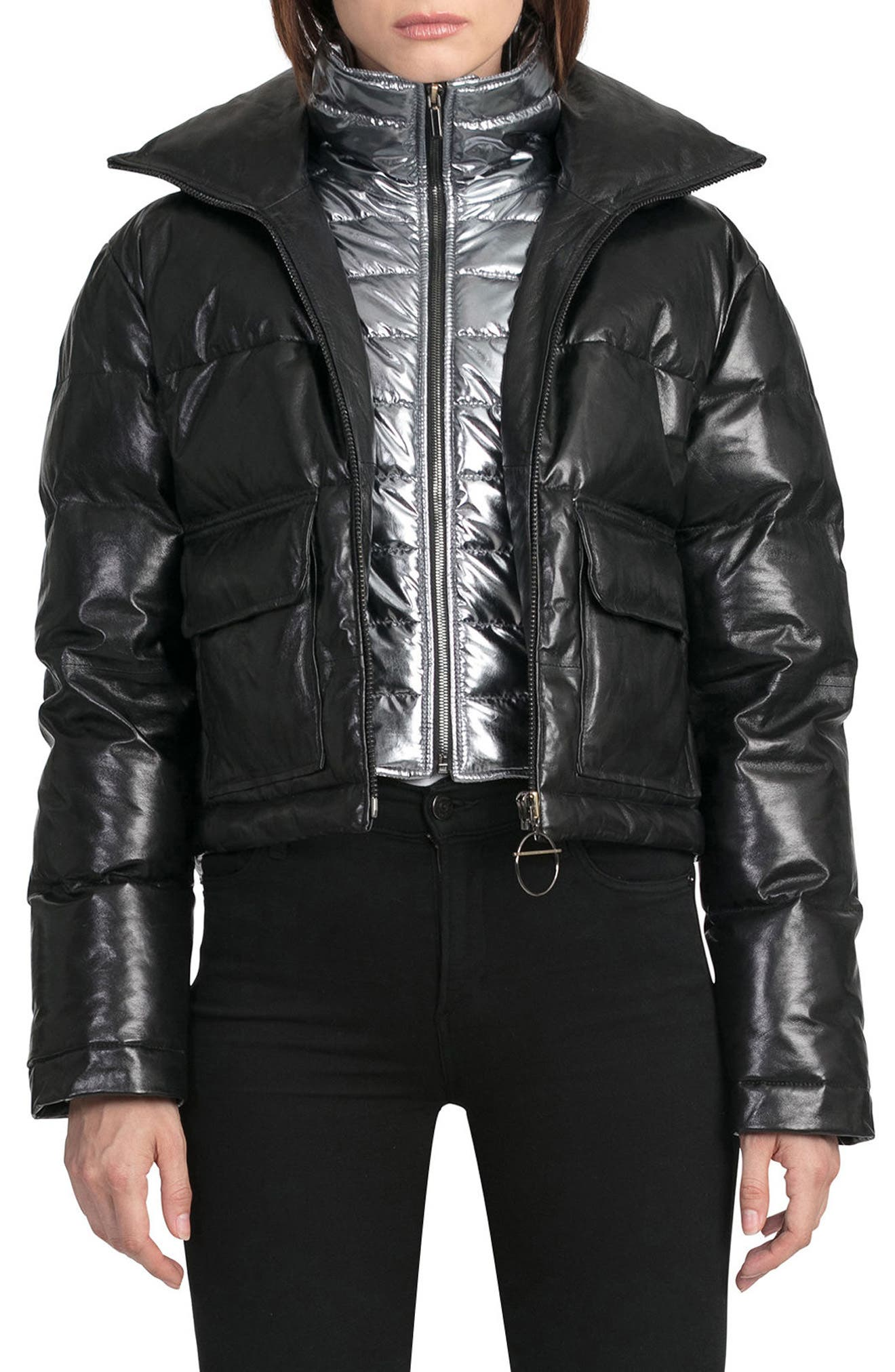 BAGATELLE.CITY The Puffer Leather Jacket with Removable Bib Lining,                         Main,                         color, 001