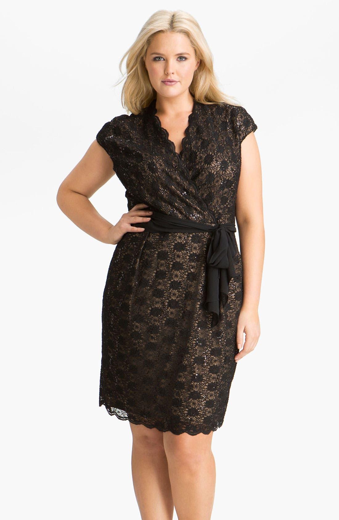 ALEX APPAREL Alex Evenings Surplice Lace Dress, Main, color, 001