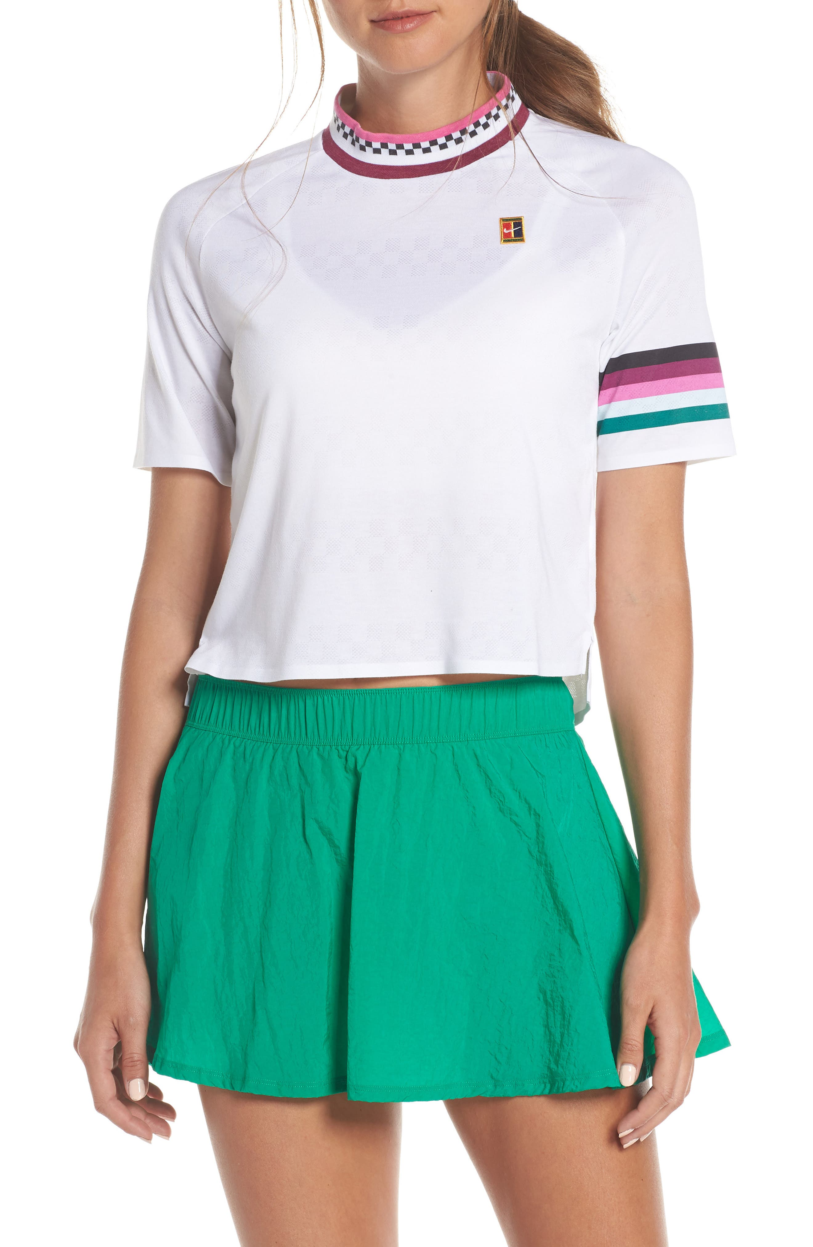 NIKE Dry Breathe Tennis Top, Main, color, WHITE/ TRUE BERRY/ GREEN