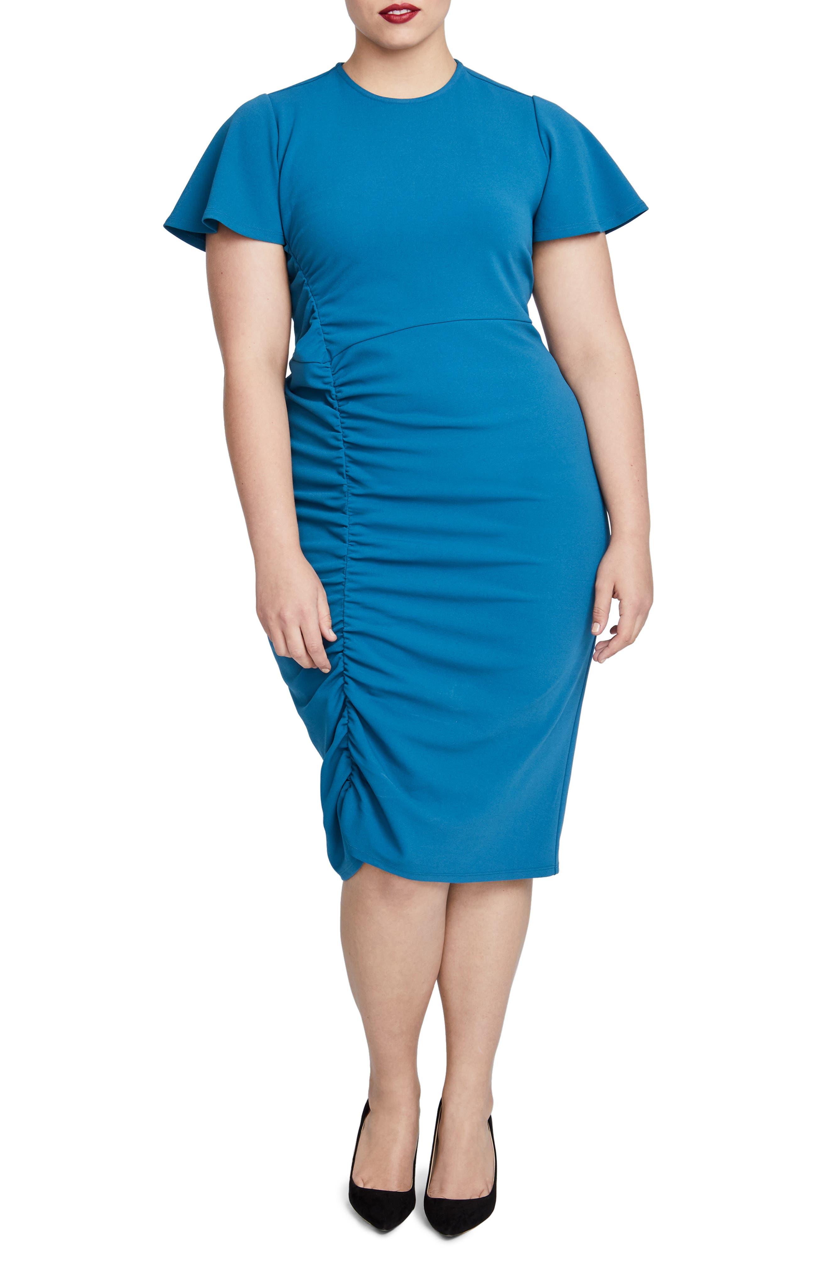 Plus Size Rachel Rachel Roy Pippa Ruched Sheath Dress, Blue