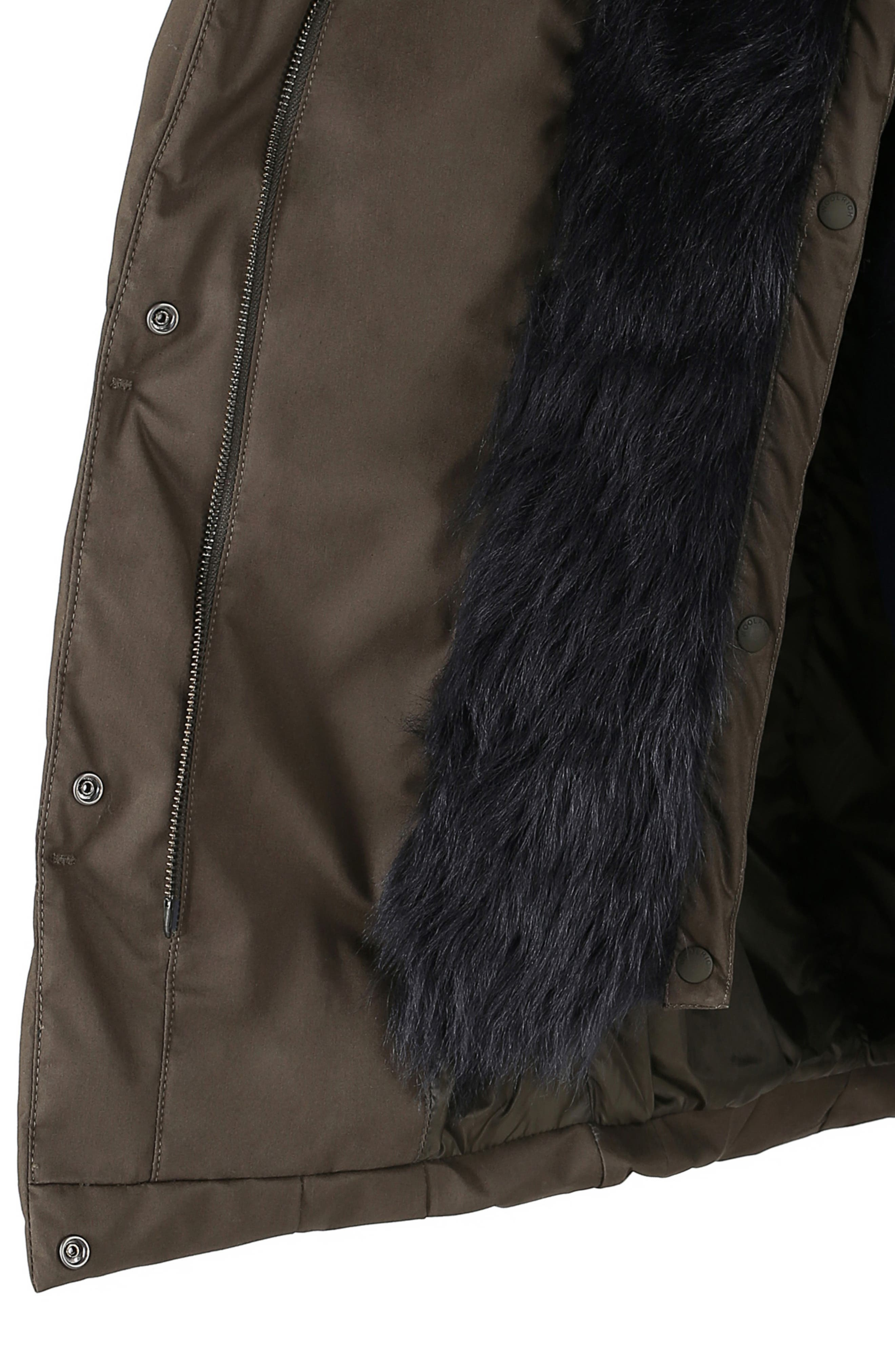 Cocoon Genuine Shearling Lined Down Coat,                             Alternate thumbnail 4, color,                             MILITARY OLIVE