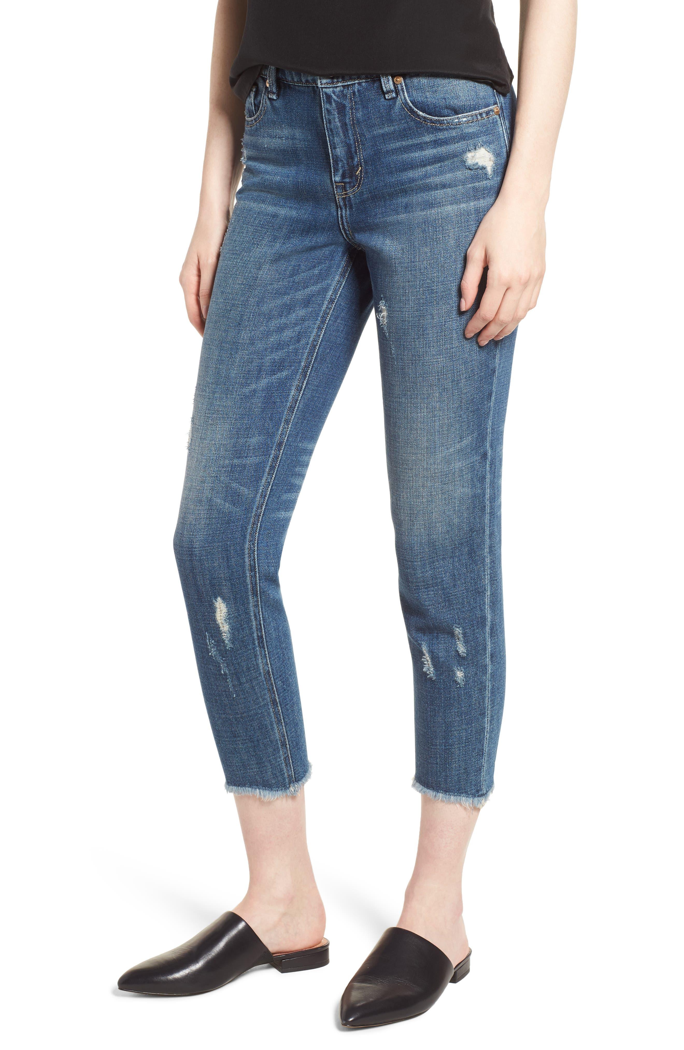 Vale Slant Fray Hem Jeans,                             Main thumbnail 1, color,                             401