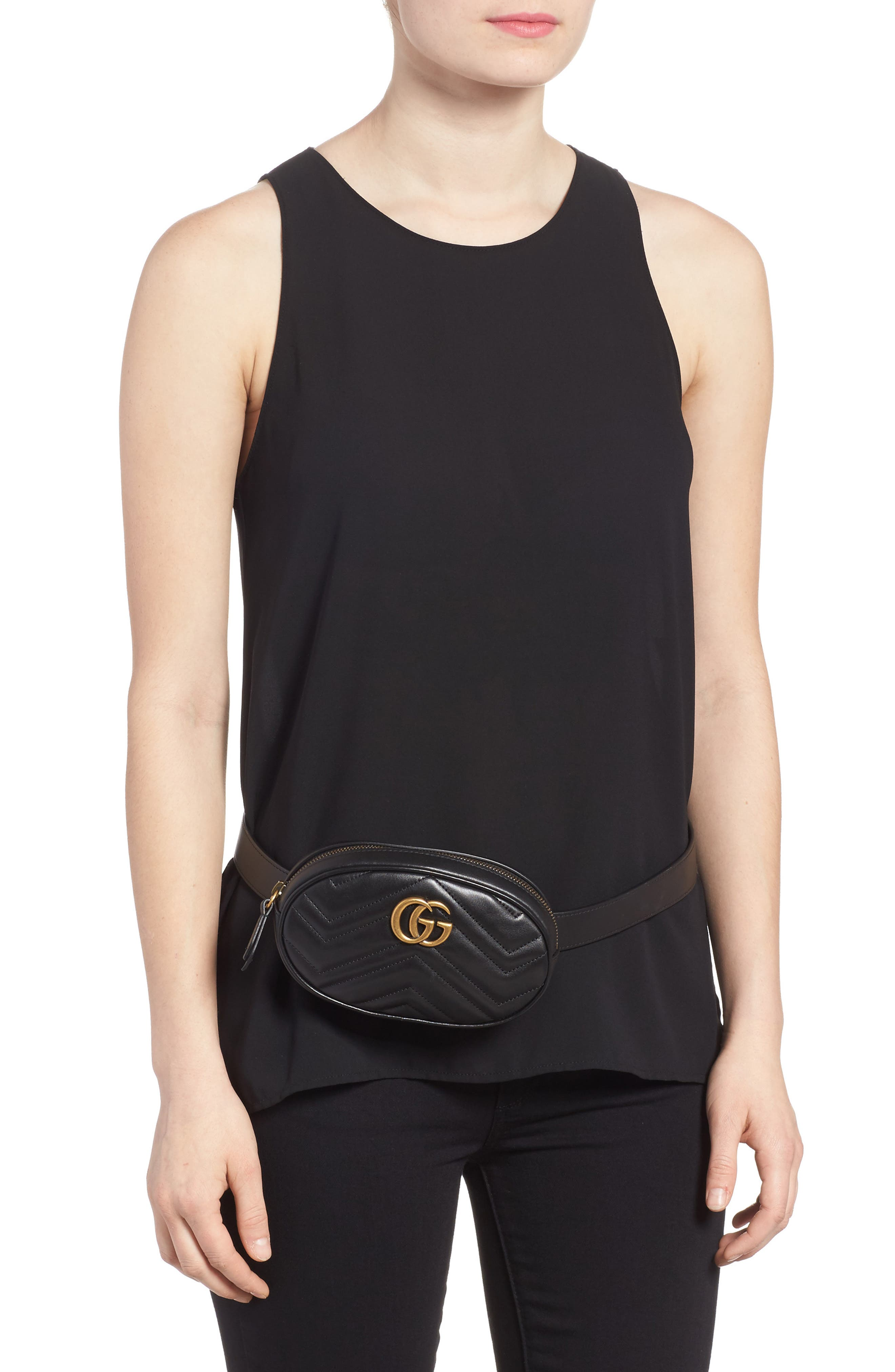 GG Marmont 2.0 Matelassé Leather Belt Bag,                             Alternate thumbnail 2, color,                             NERO