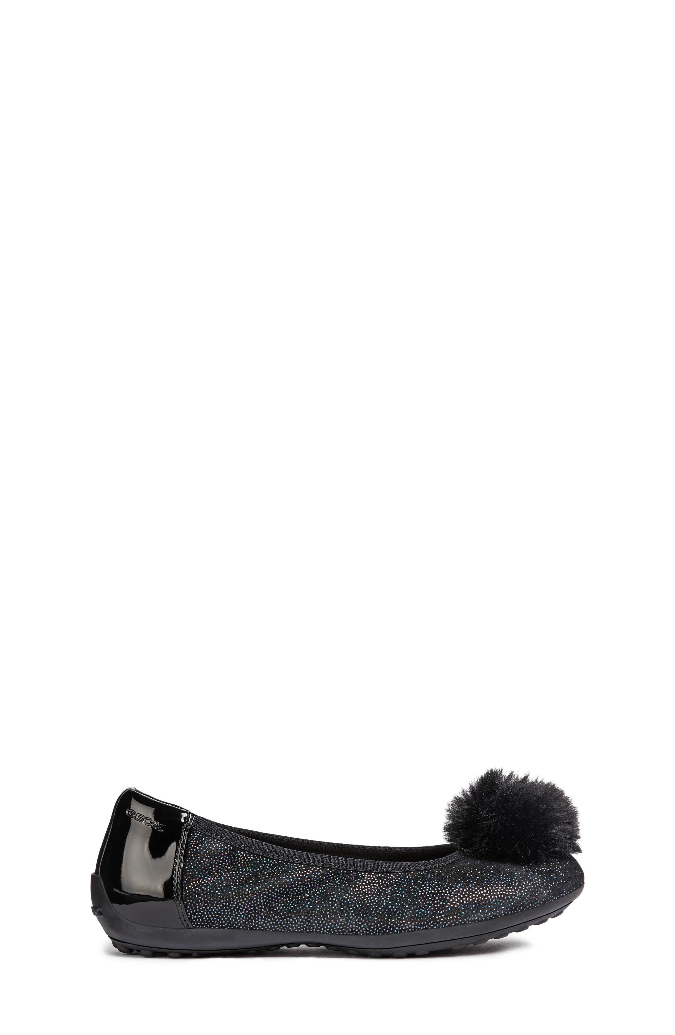 Piuma Faux Fur Pom Glitter Ballerina Flat,                             Alternate thumbnail 3, color,                             BLACK