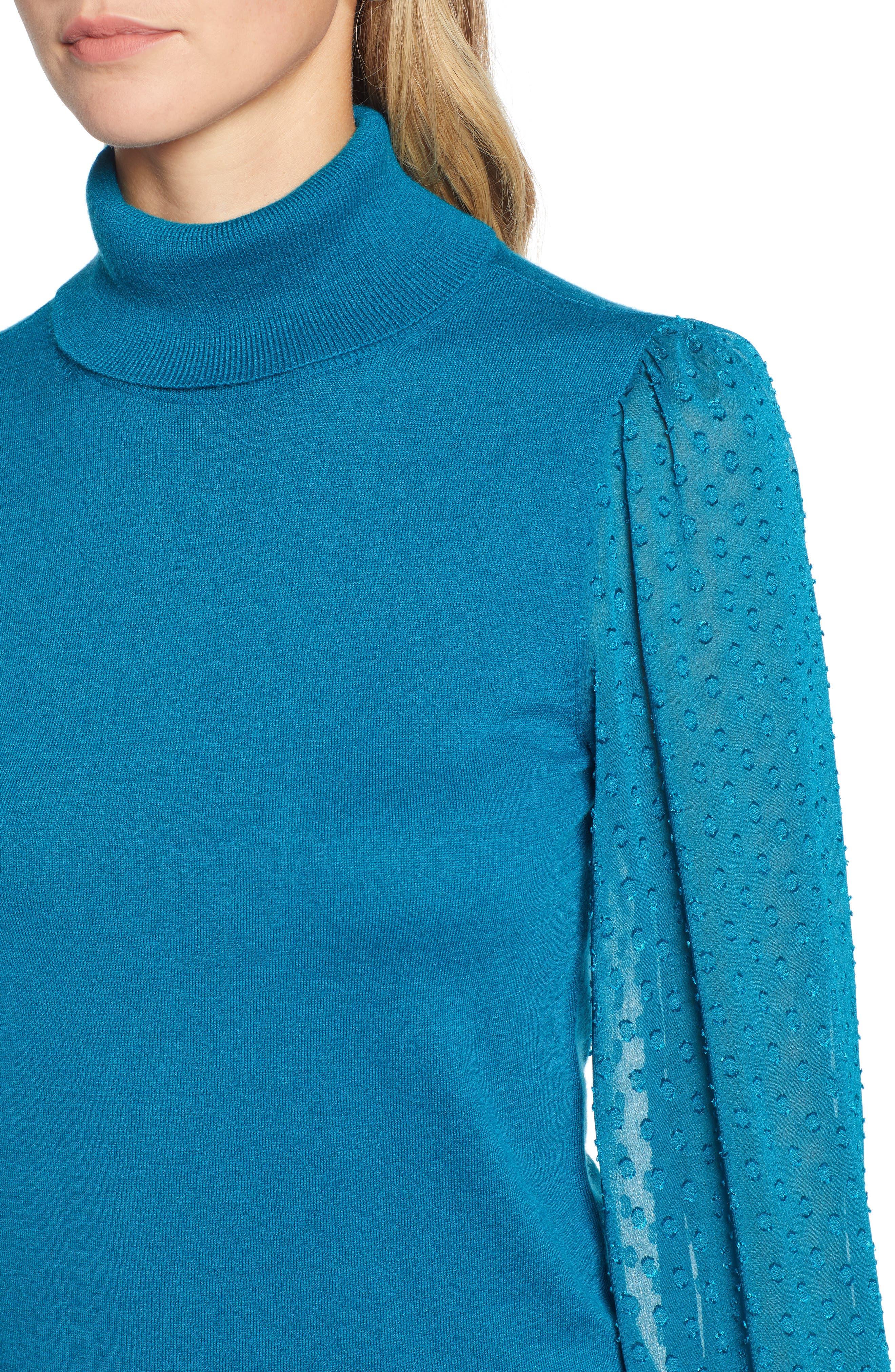 Sheer Sleeve Turtleneck Sweater,                             Alternate thumbnail 4, color,                             449