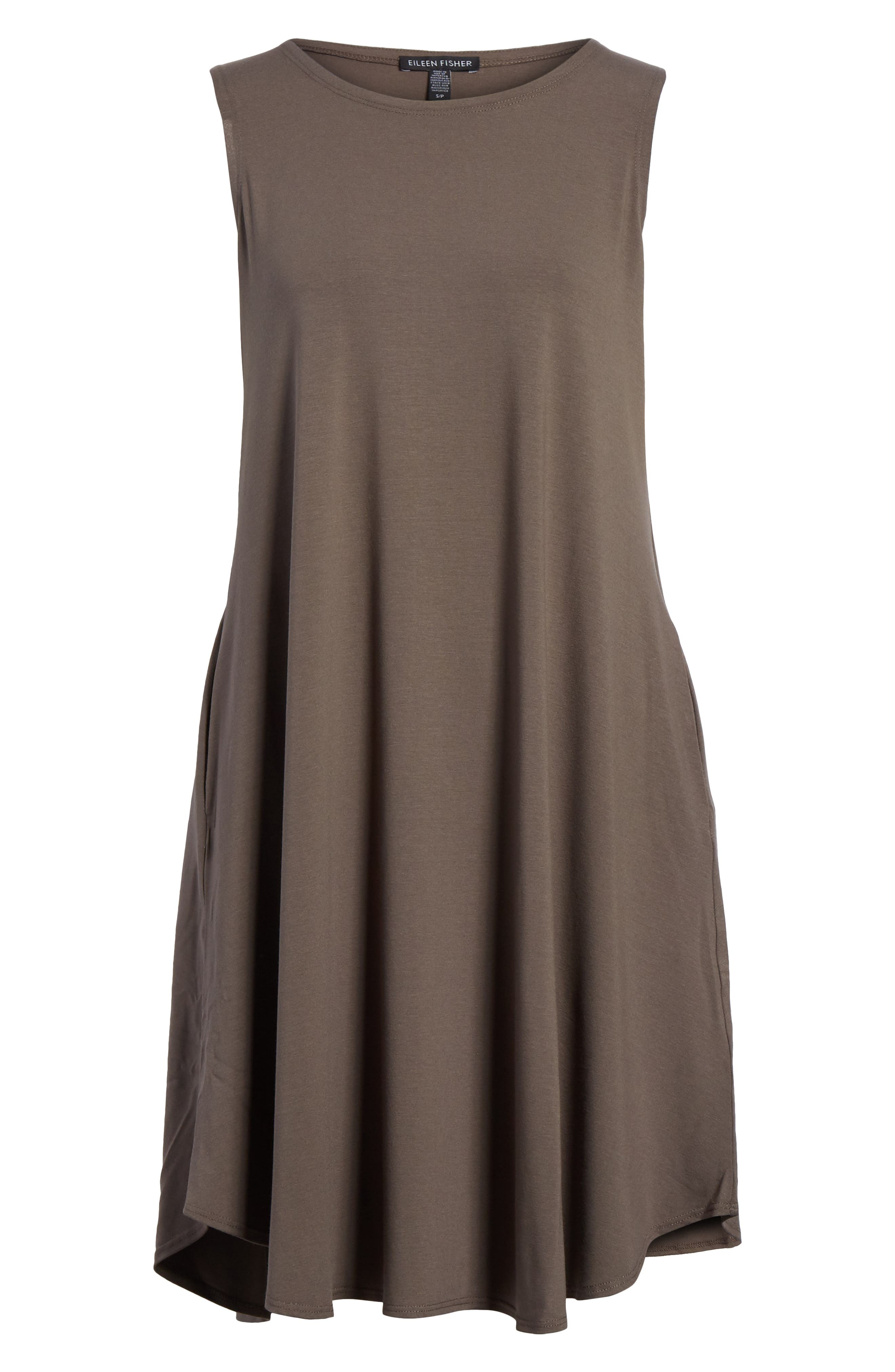 EILEEN FISHER,                             Jersey Jewel Neck Flare Dress,                             Alternate thumbnail 6, color,                             245