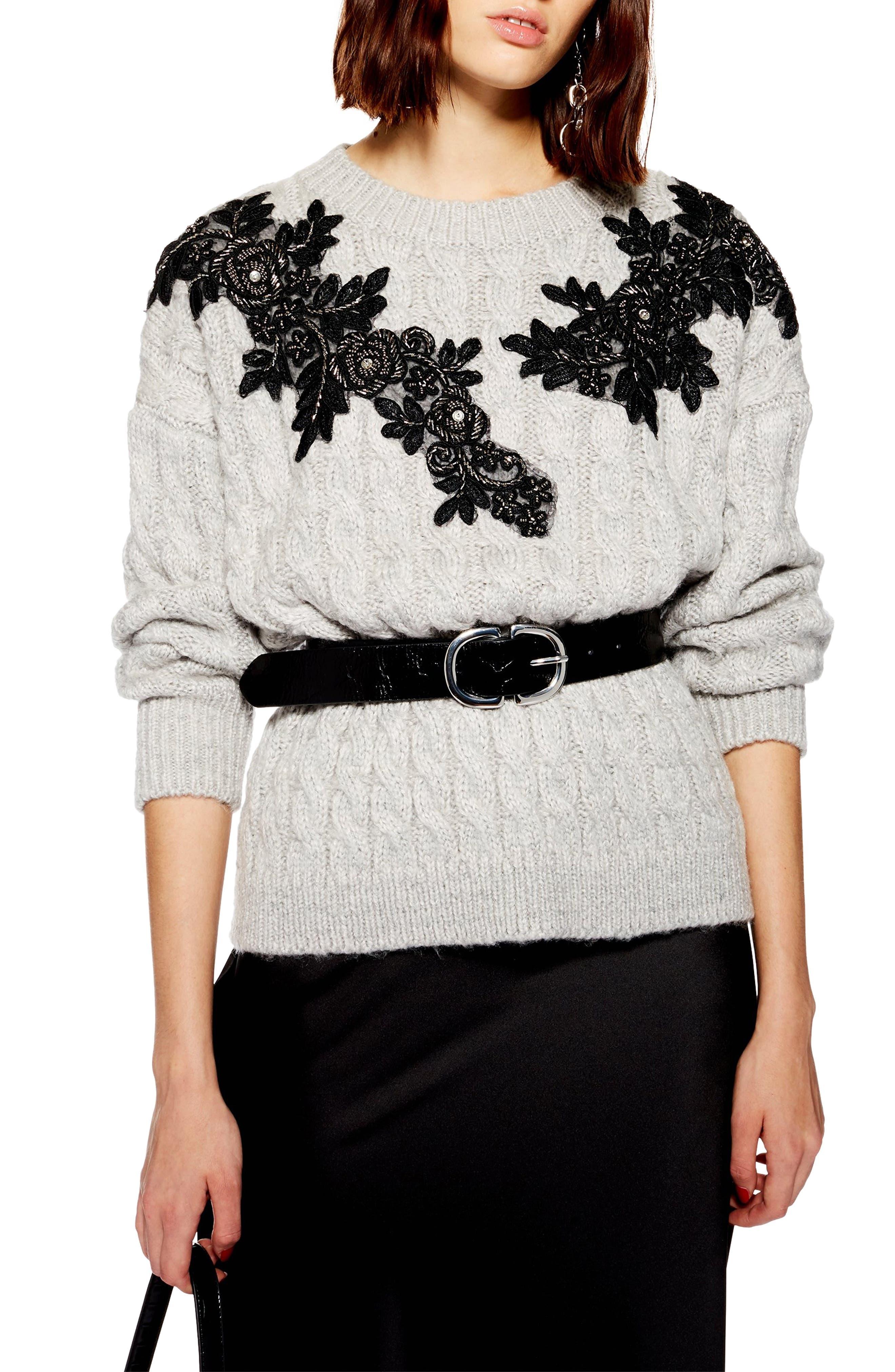 TOPSHOP,                             Appliqué Cable Knit Sweater,                             Main thumbnail 1, color,                             020