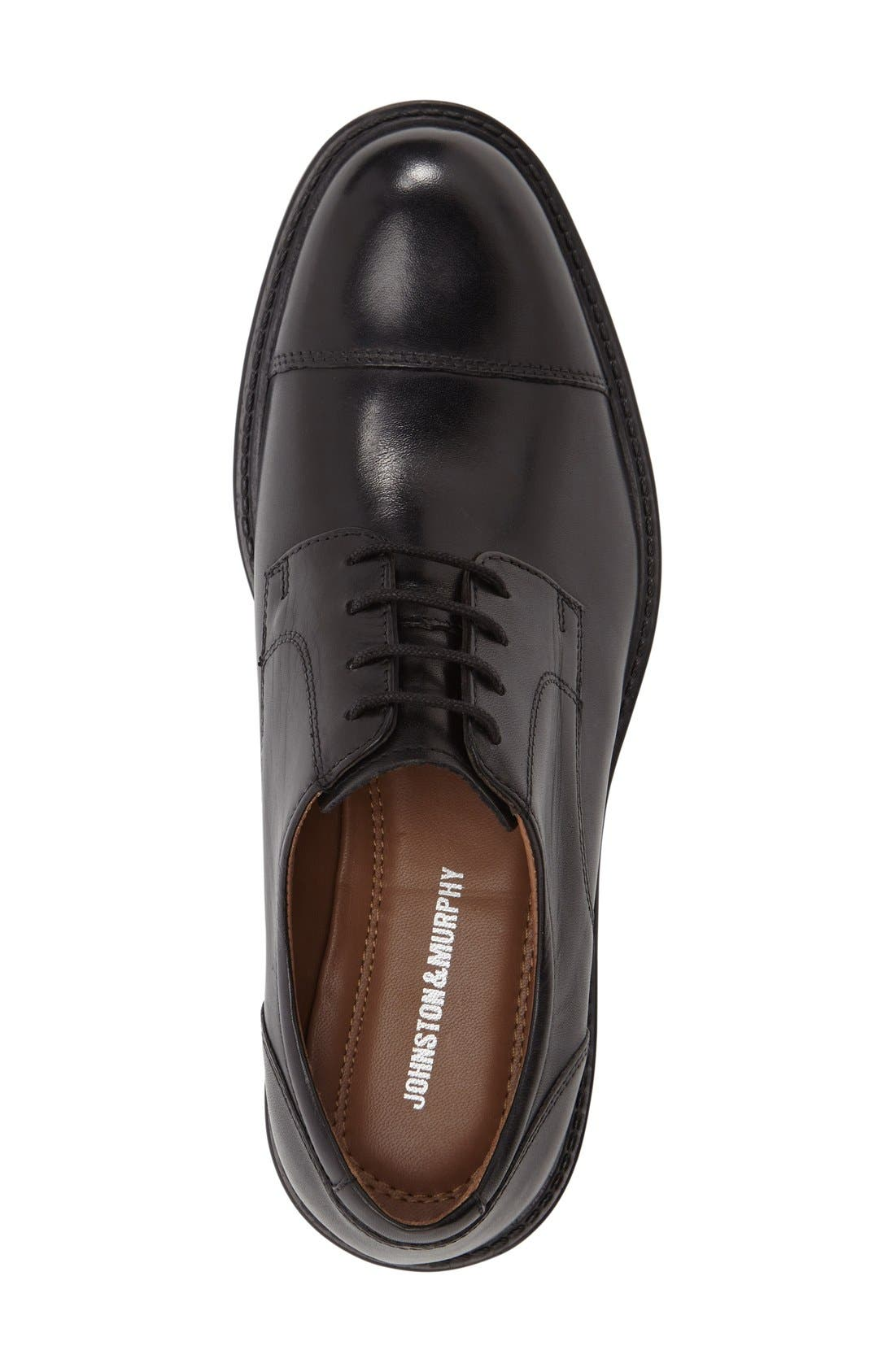 Tabor Cap Toe Derby,                             Alternate thumbnail 4, color,                             BLACK LEATHER