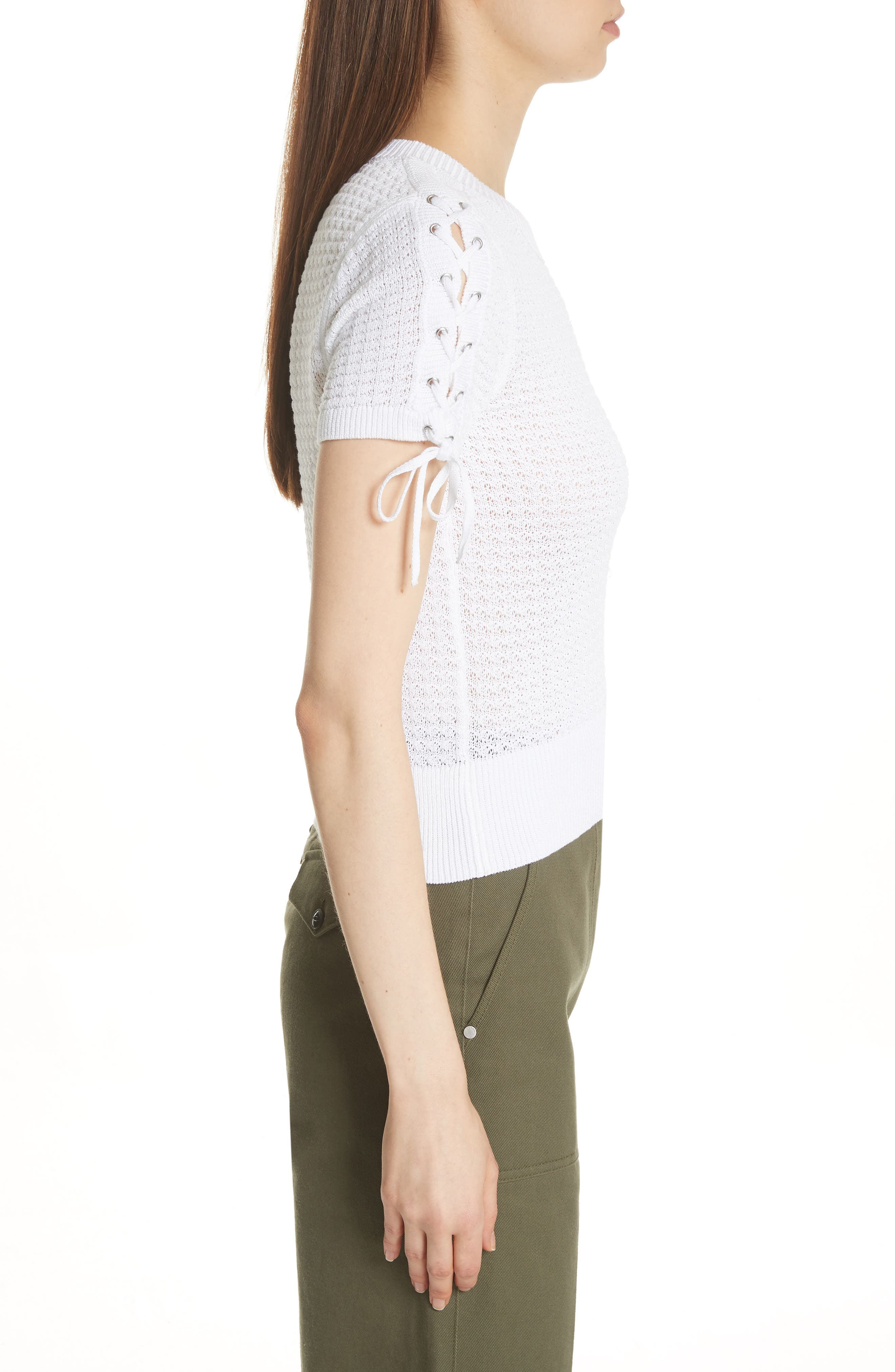 Iona Lace-Up Sleeve Sweater,                             Alternate thumbnail 3, color,