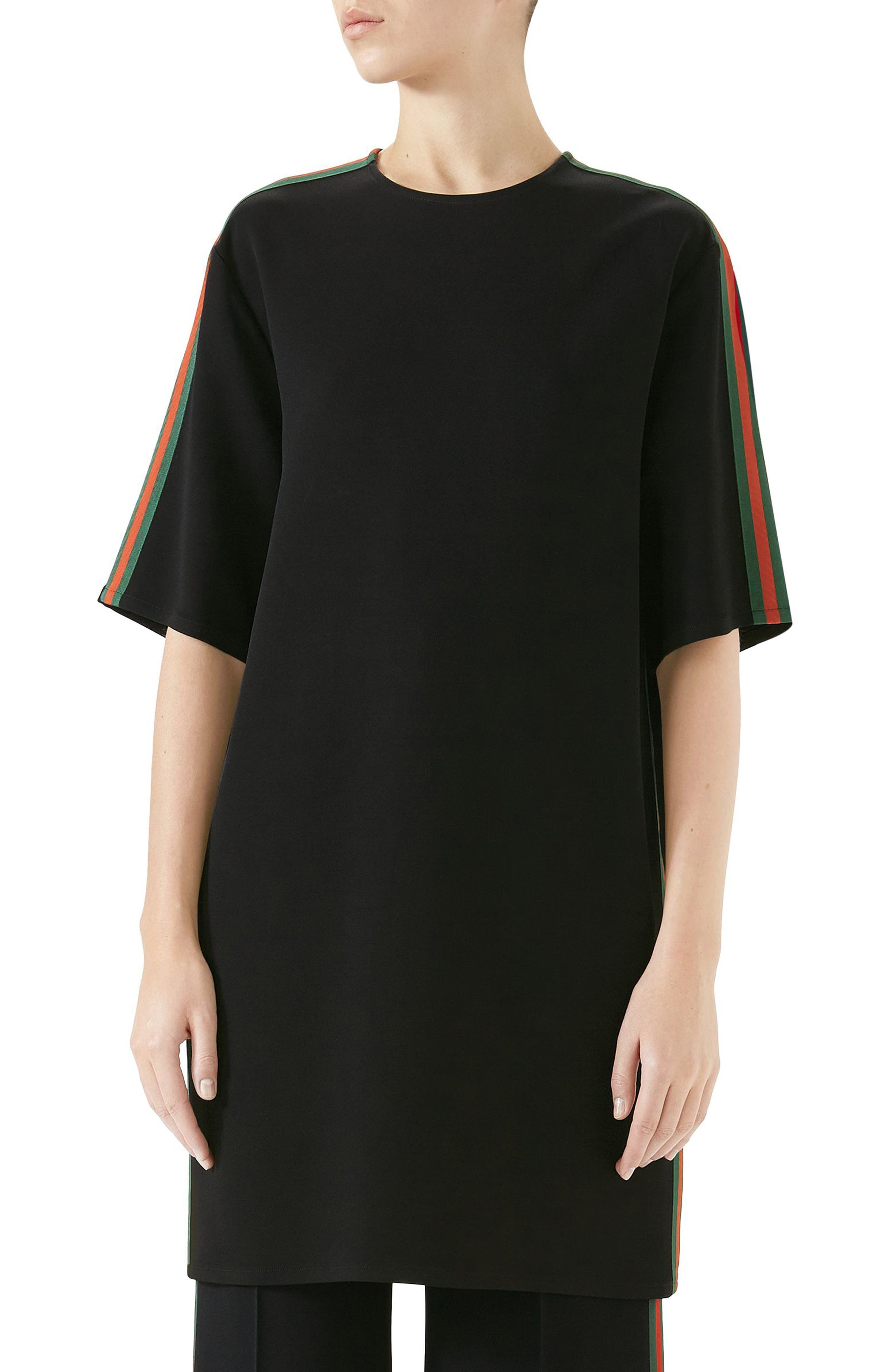 Side Stripe Cady Tunic Dress,                         Main,                         color, BLACK