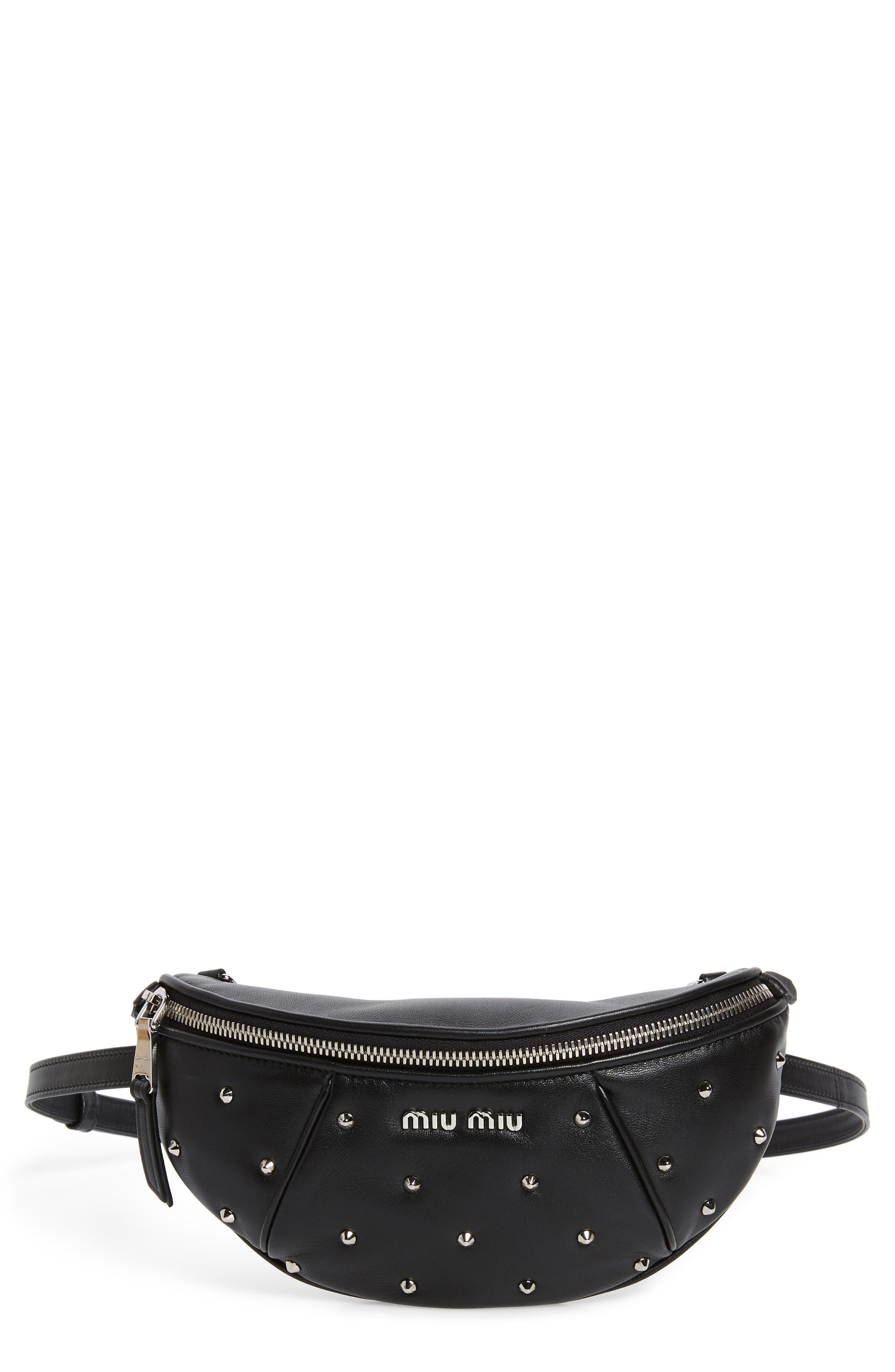 Studded Lambskin Leather Belt Bag,                             Main thumbnail 1, color,                             NERO