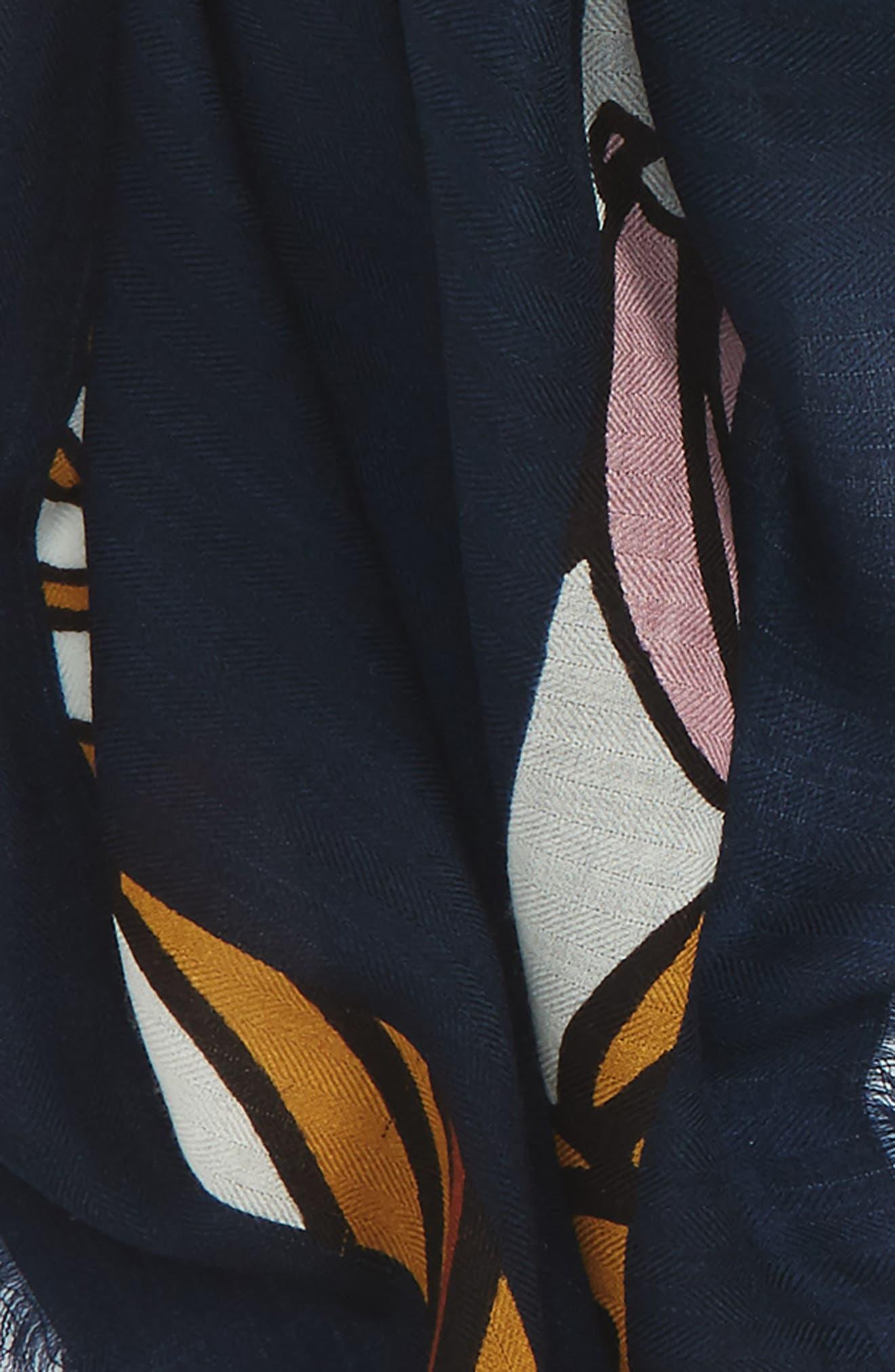 Logo Print Square Wool Scarf,                             Alternate thumbnail 5, color,