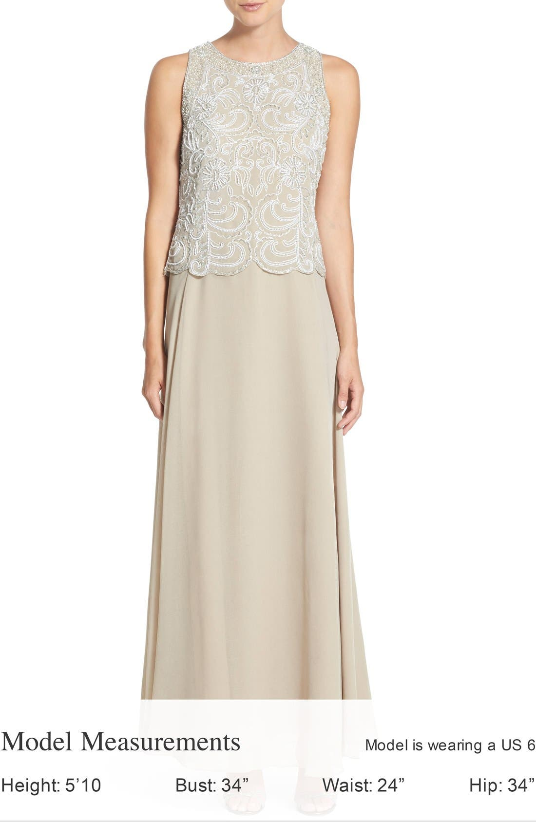J KARA,                             Embellished Chiffon A-Line Gown with Shawl,                             Alternate thumbnail 4, color,                             250