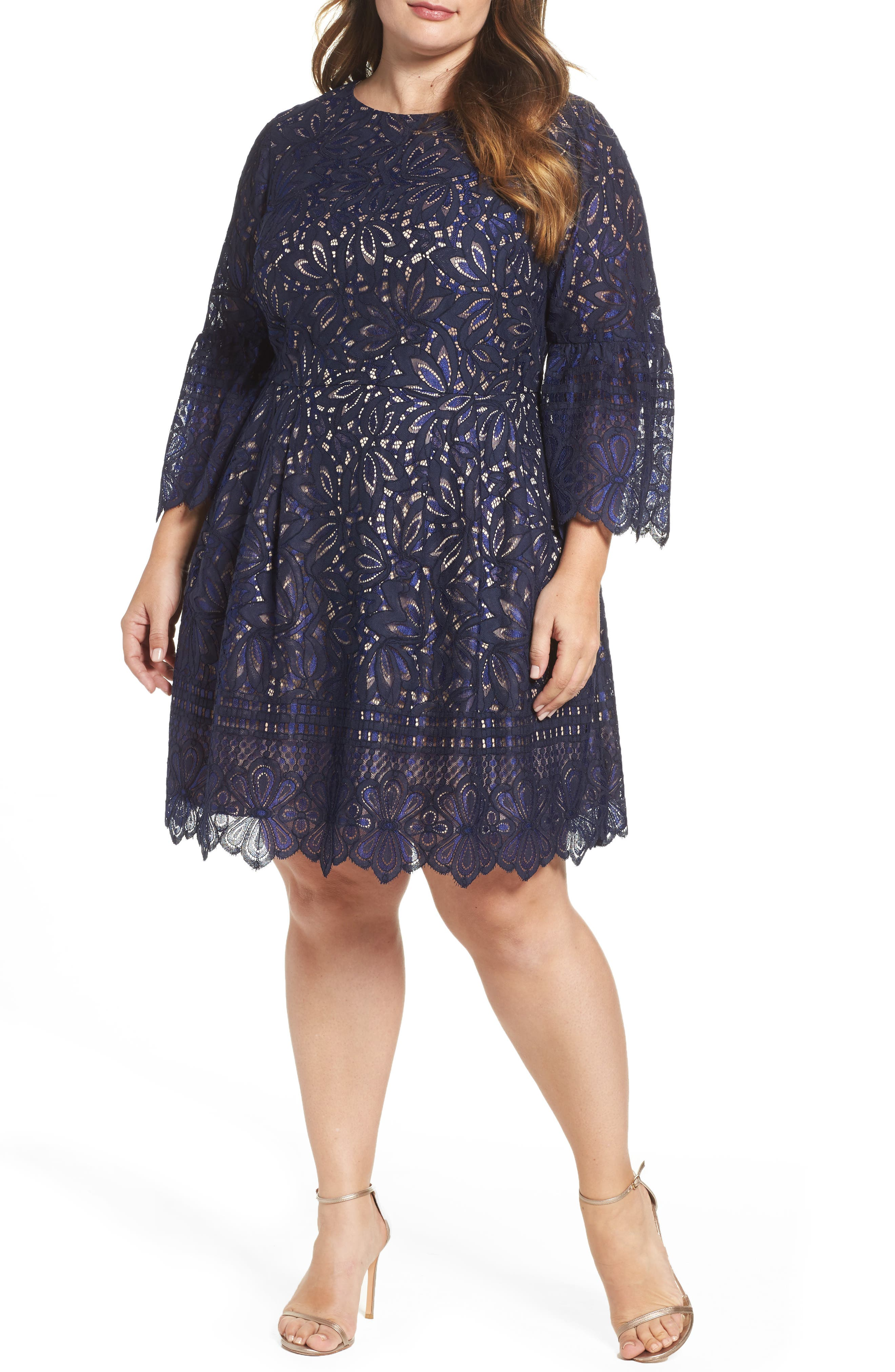 Lace Bell Sleeve Fit & Flare Dress,                             Main thumbnail 1, color,