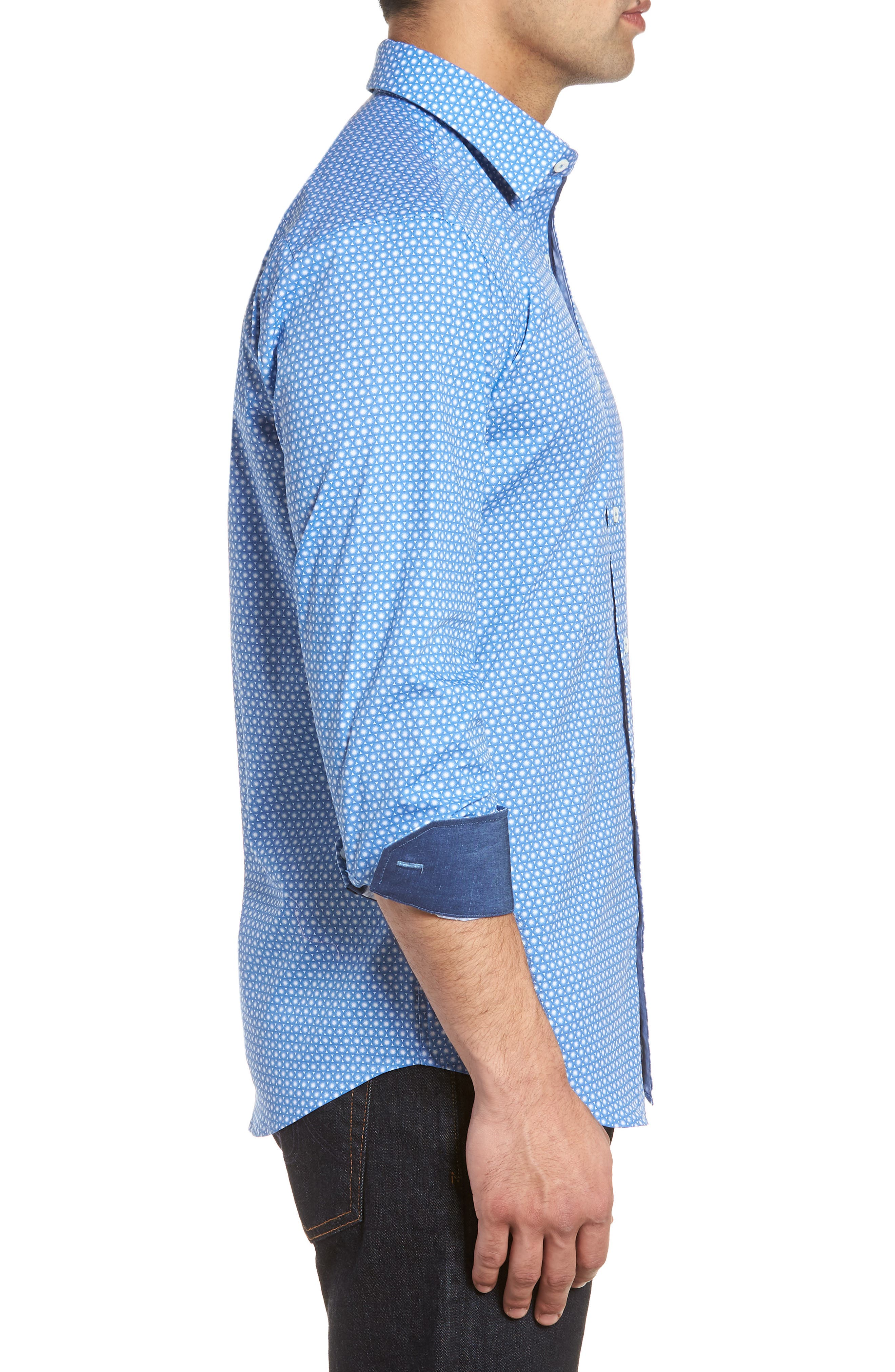 Shaped Fit Circle Print Sport Shirt,                             Alternate thumbnail 3, color,                             CLASSIC BLUE