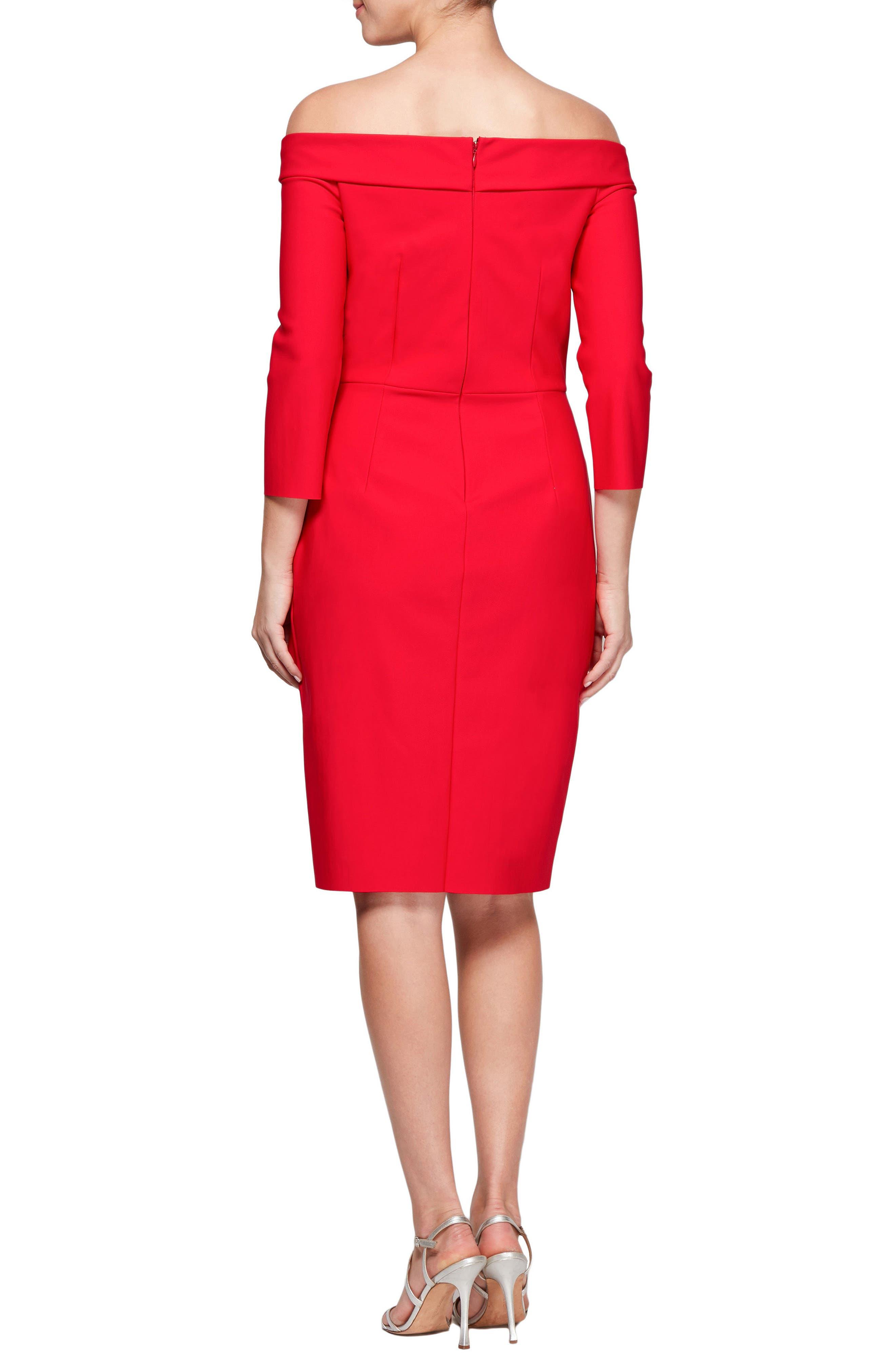 Foldover Off the Shoulder Sheath Dress,                             Alternate thumbnail 2, color,