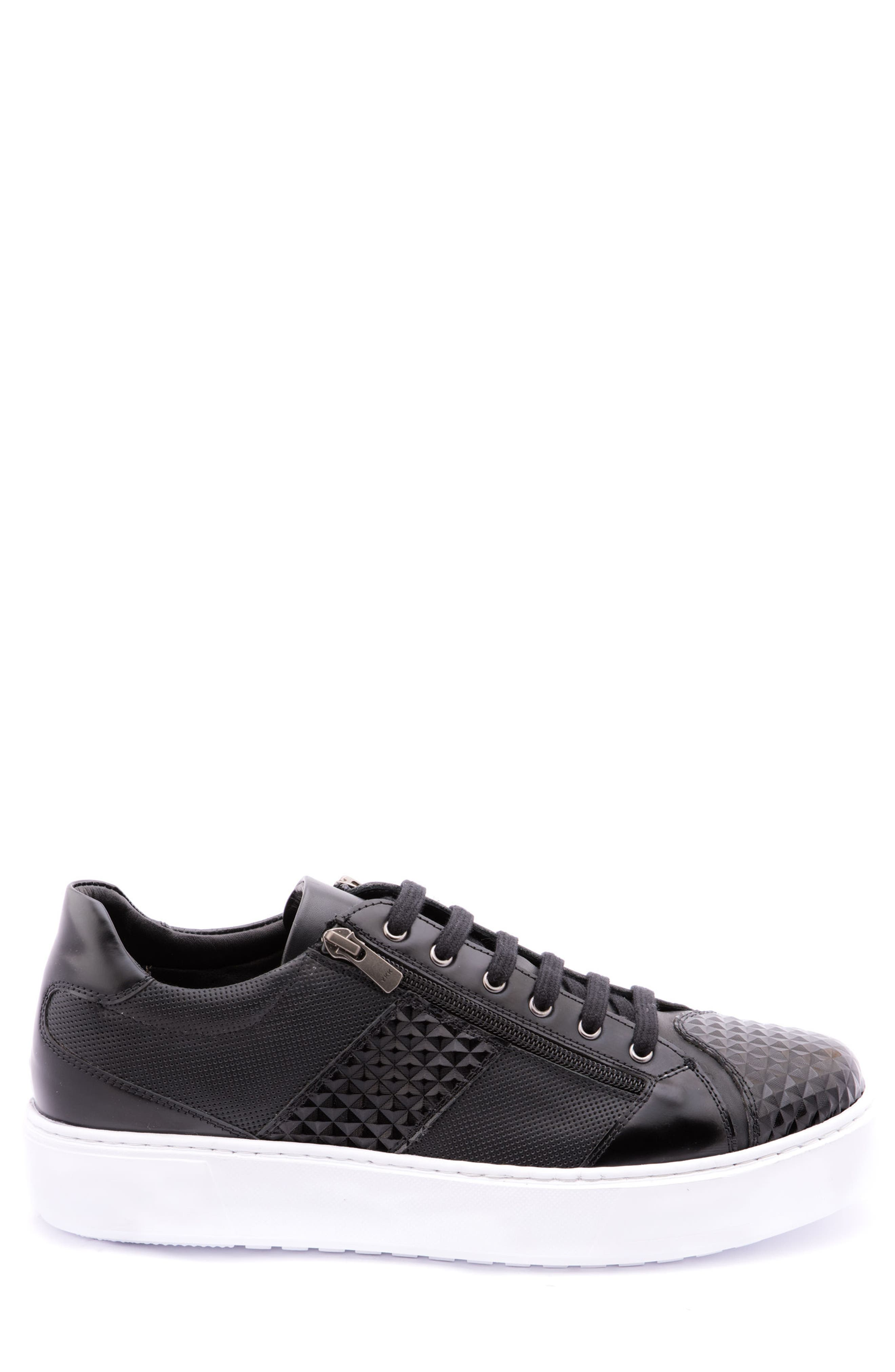 Justin Perforated Sneaker,                             Alternate thumbnail 3, color,                             BLACK